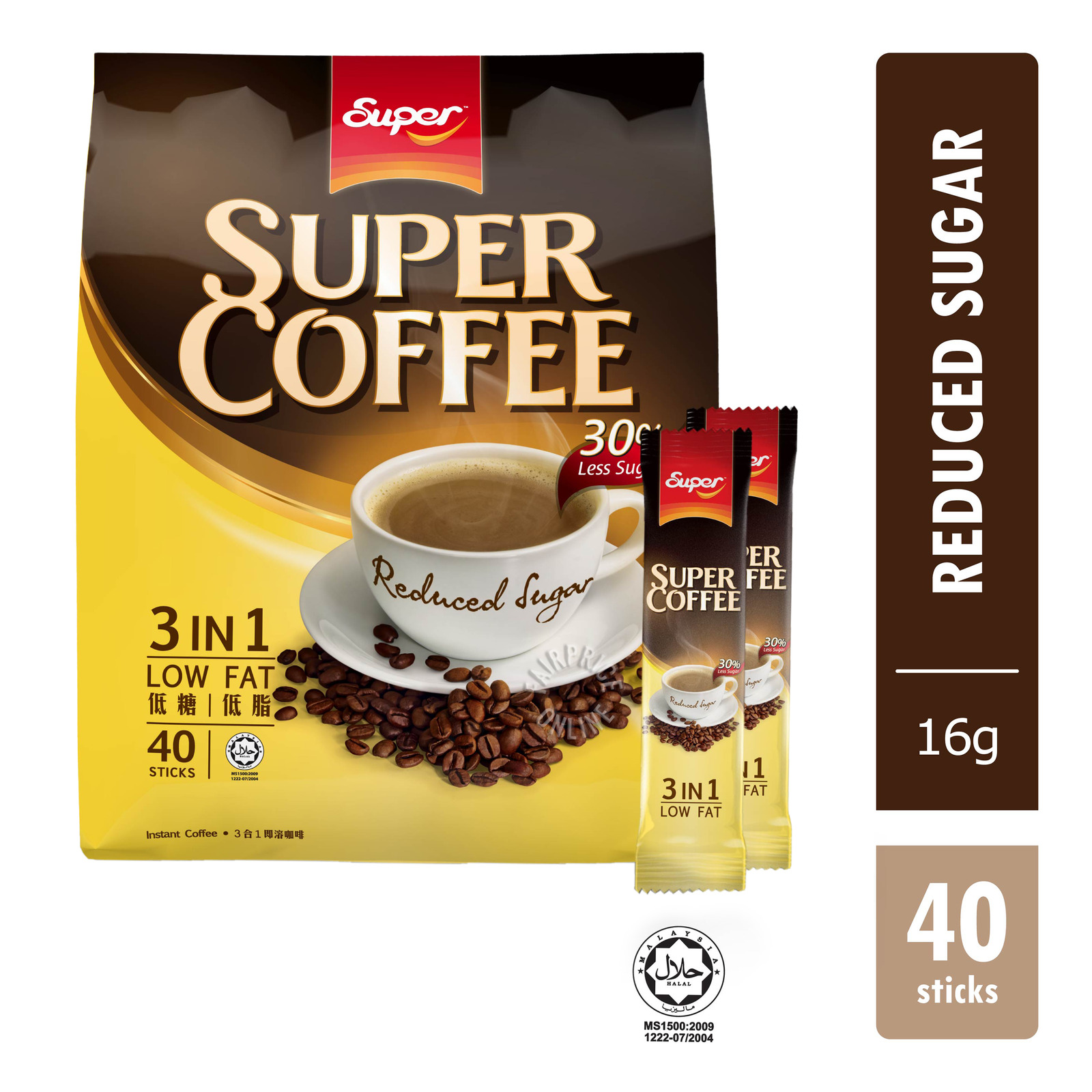 Super 3 in 1 Instant Coffee - Low Fat (30% Less Sugar)