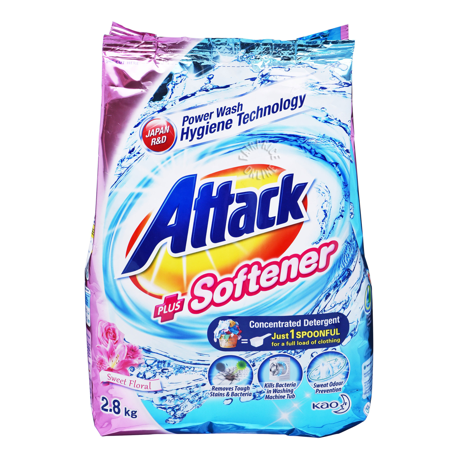 Attack Detergent + Softener Sweet Floral Powder Detergent