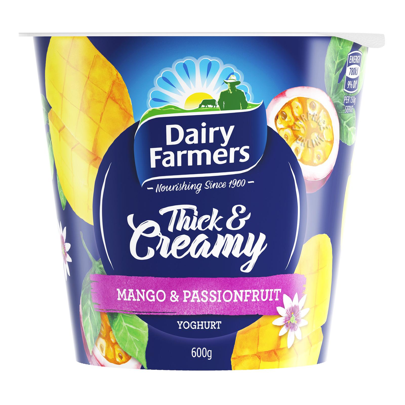 DAIRY FARMERS Yoghurt Thick & Creamy Mango Passionfruit 600g