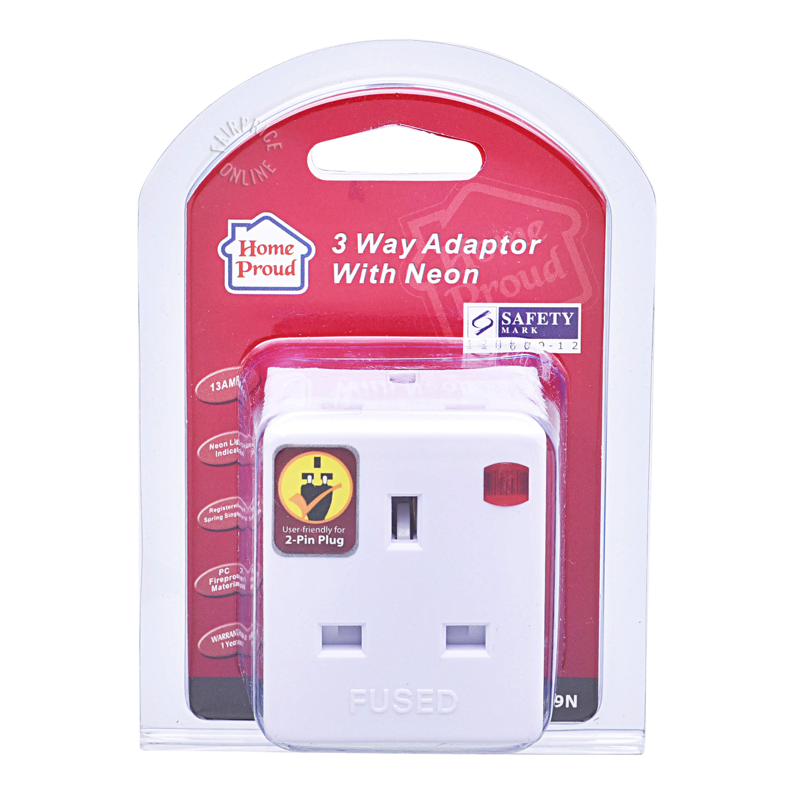 HomeProud 3 Way Adaptor with Neon (HP3889N)