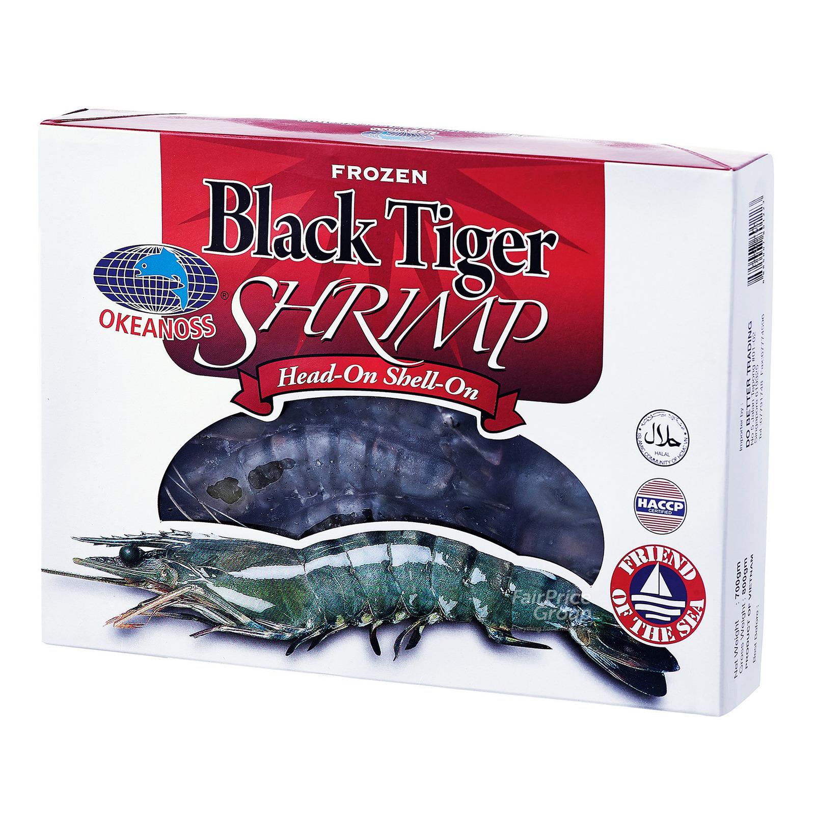 Okeanoss Frozen Black Tiger Shrimp Head-On Shell-On