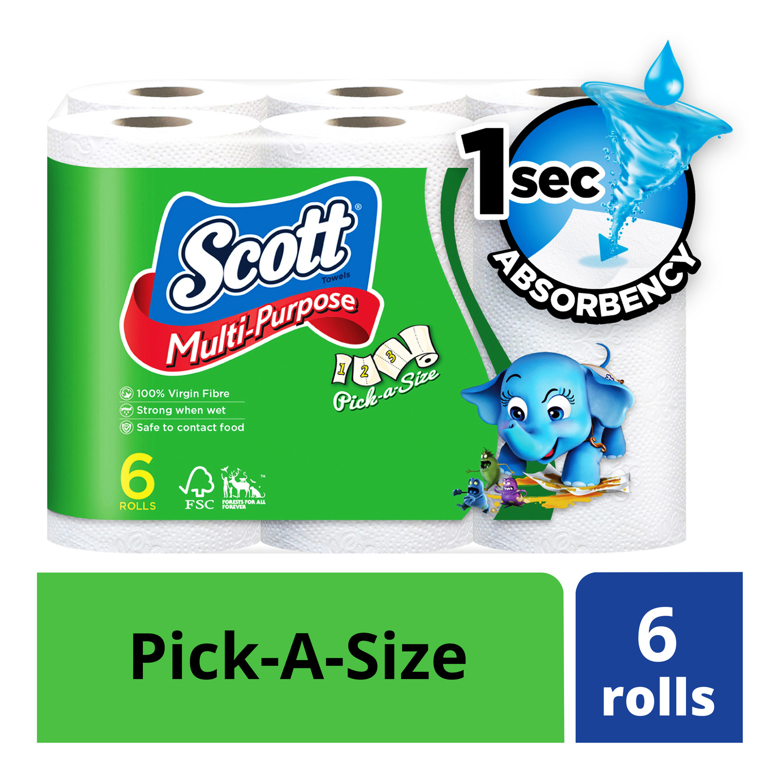 SCOTT'S Multi Purpose Pick-A-Size Kitchen Paper Towel 6s