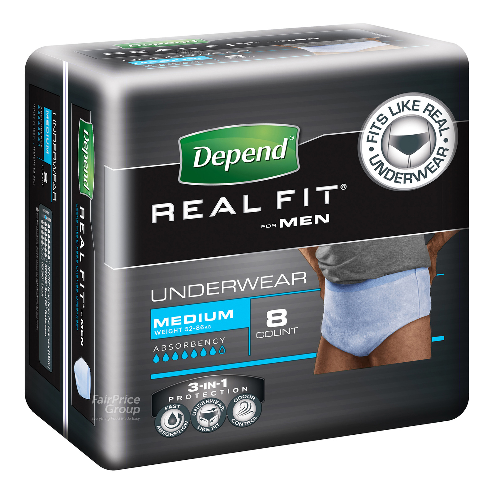 Depend Real-Fit Underwear For Men - M (52 - 86kg)