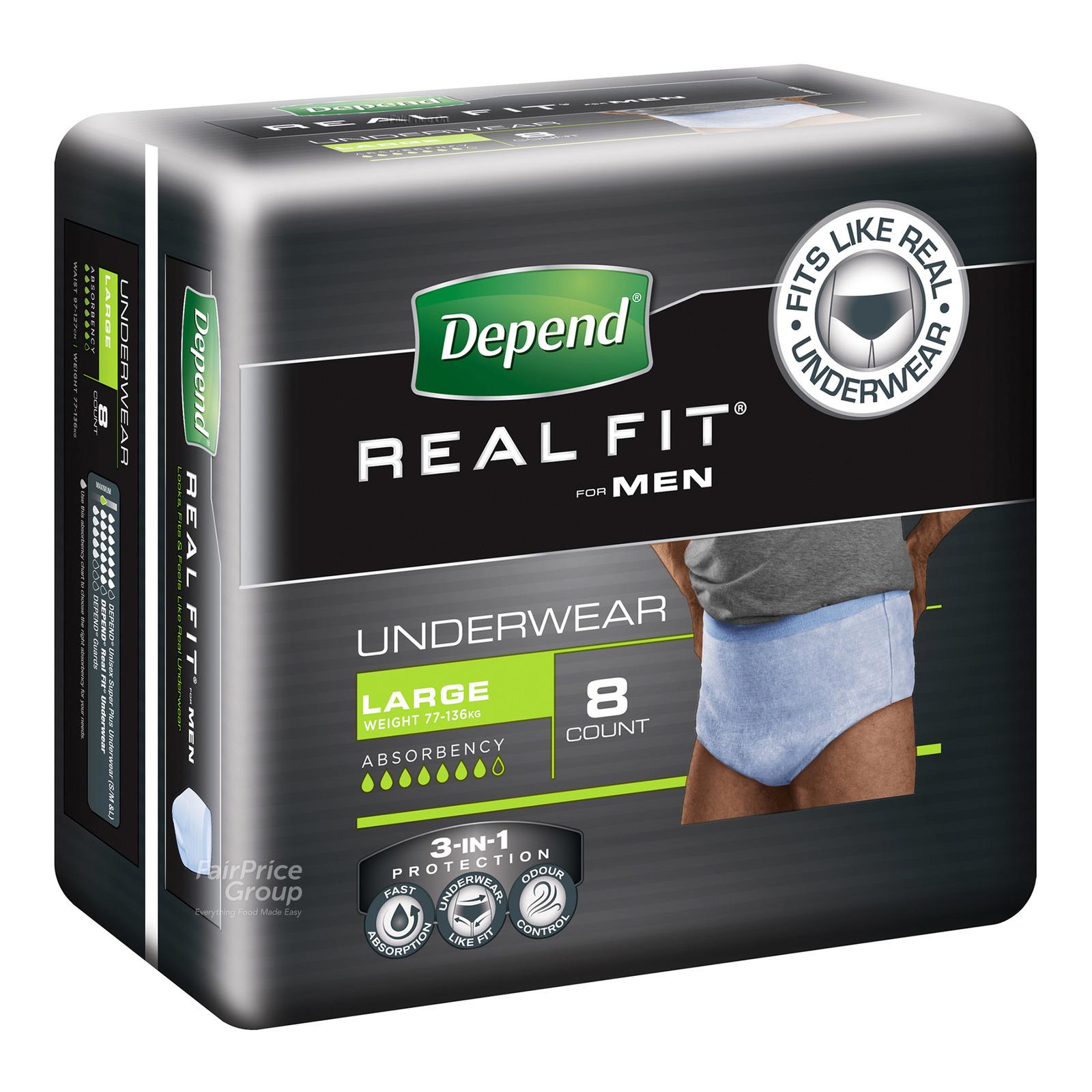 Depend Real-Fit Underwear For Men - L (77 - 136kg)
