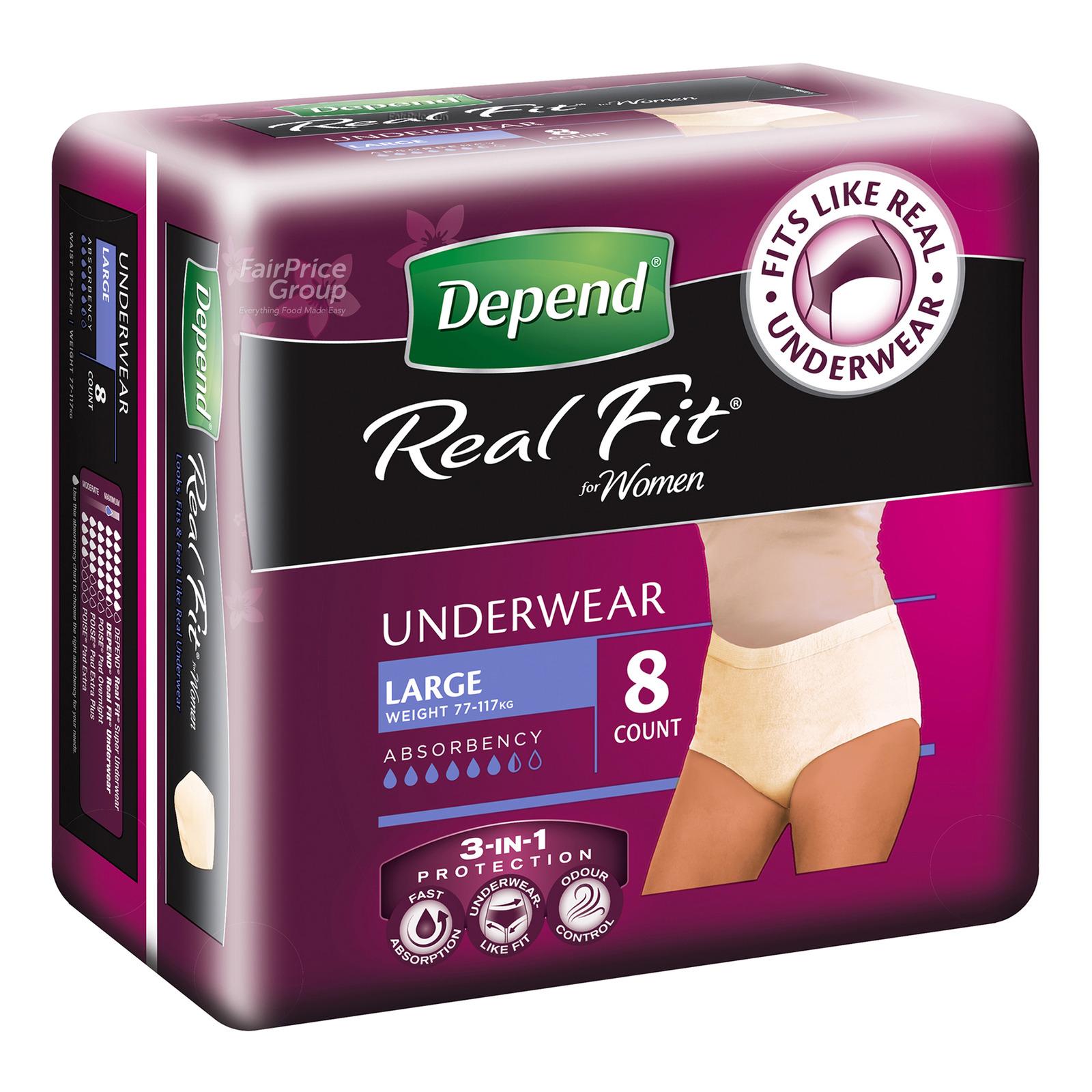 Depend Real-Fit Underwear For Women - L (77 - 117kg)