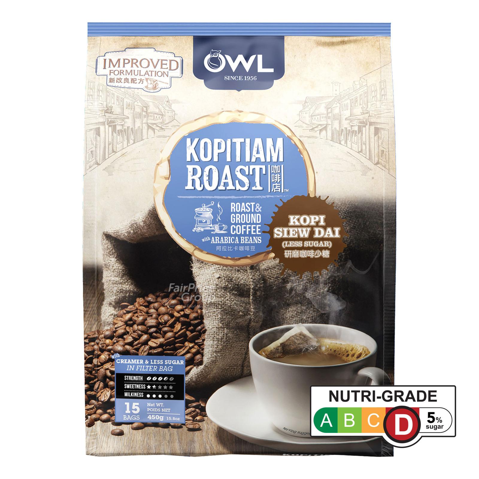 Owl Kopitiam Roast & Ground Coffee Bags - Kopi Siew Dai