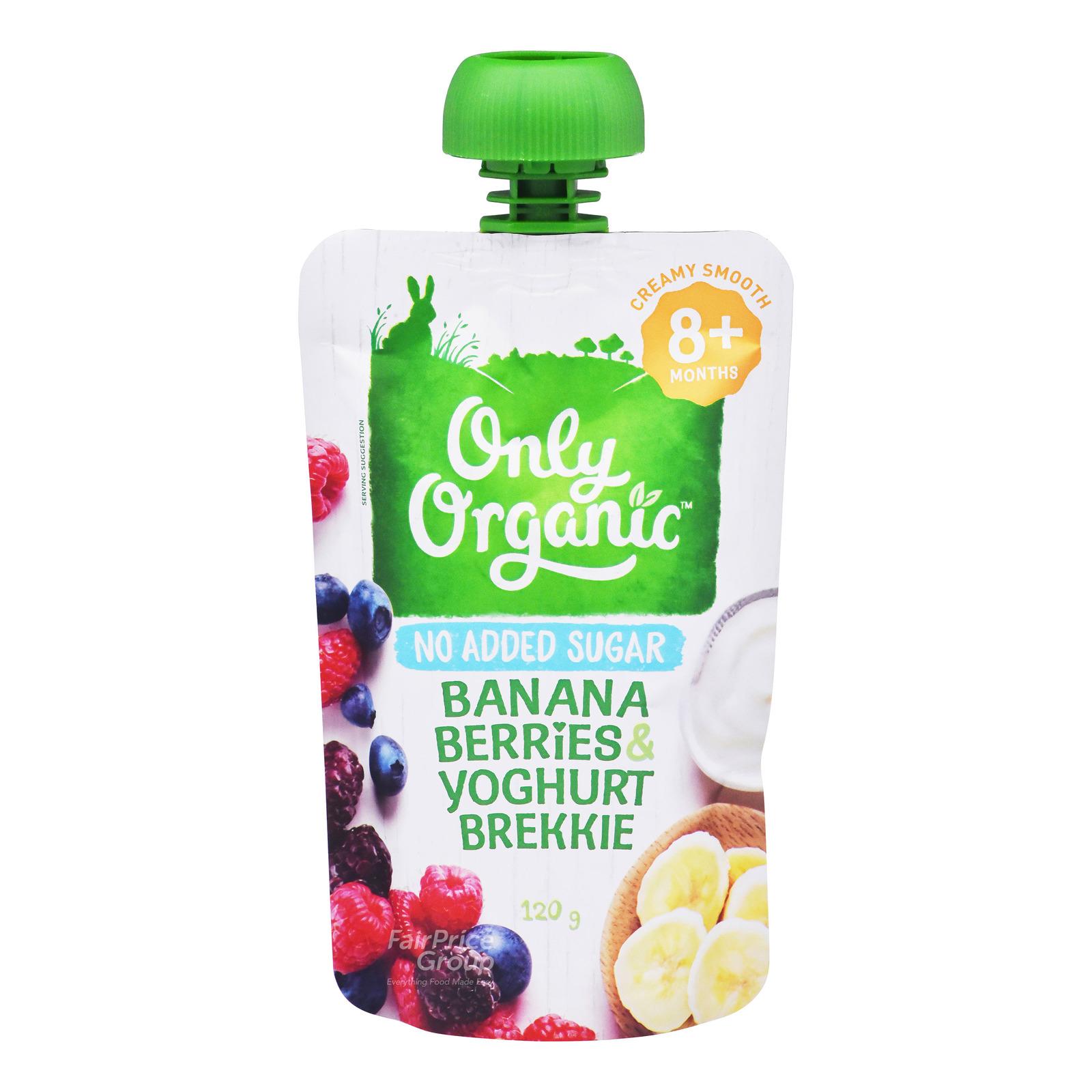 Only Organic 8 Month Brekkie Pouch - Banana Berries & Yoghurt