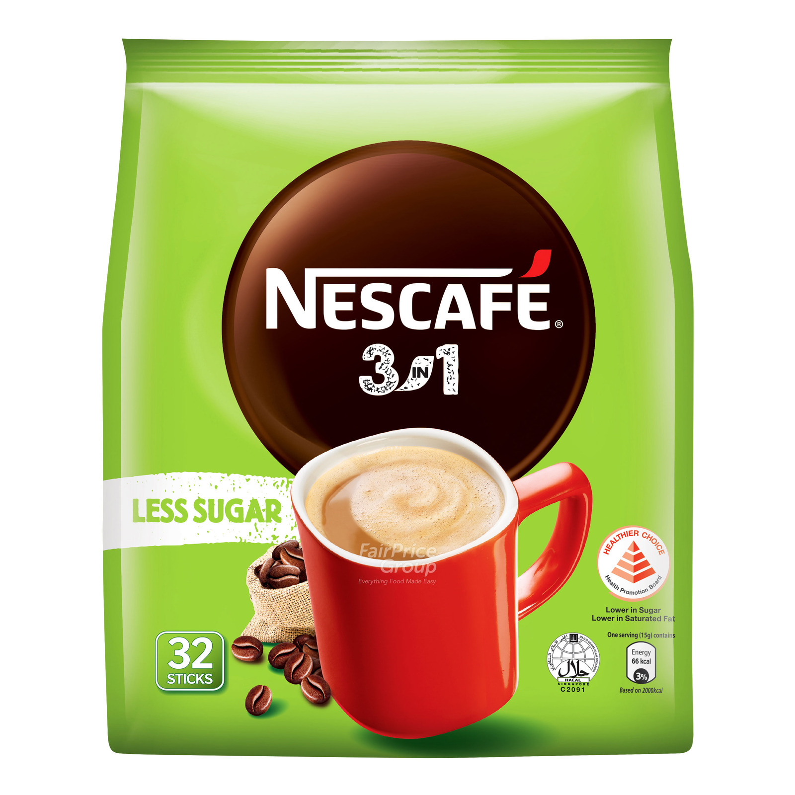 Nescafe 3 in 1 Instant Coffee - Original (Less Sugar)
