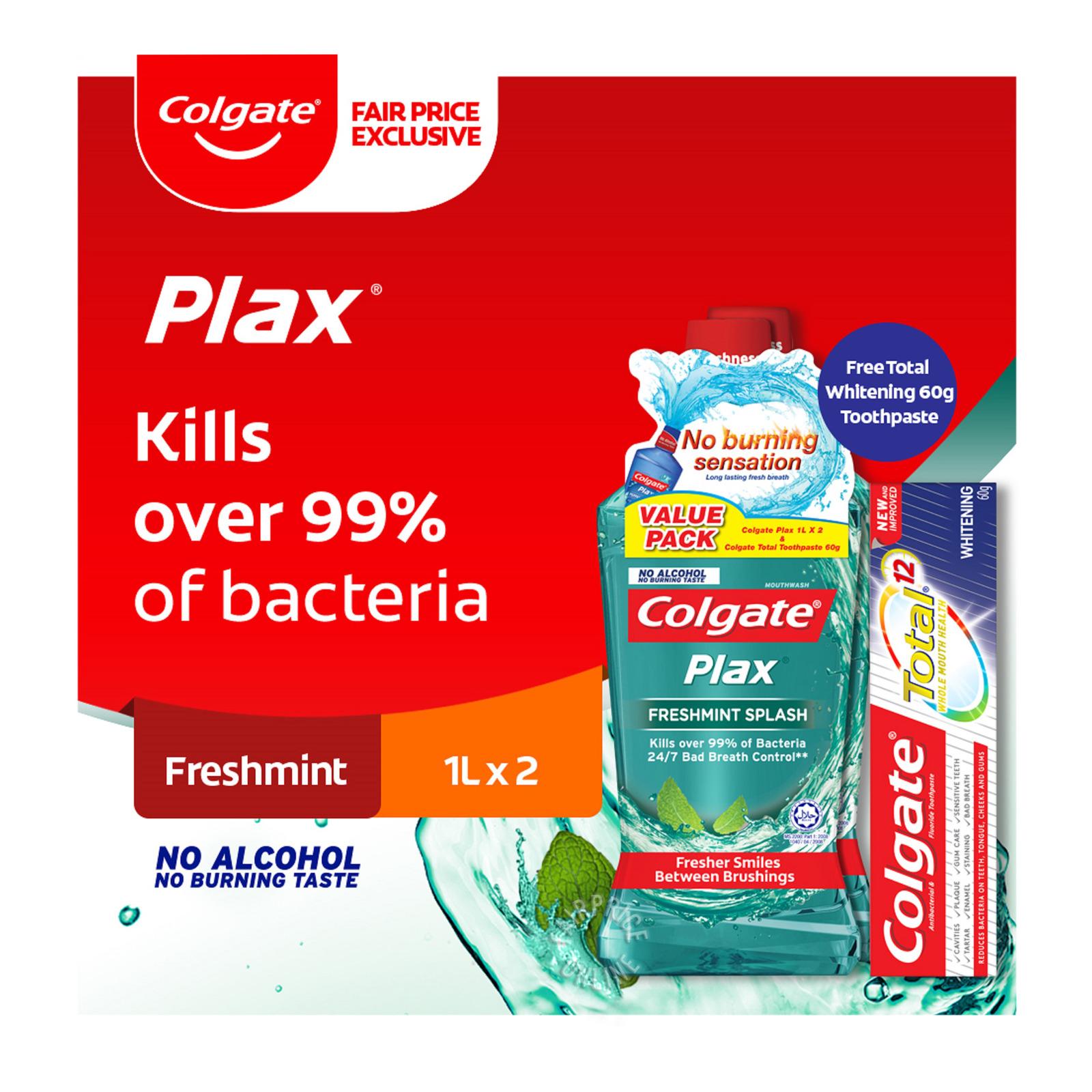 Colgate Plax Mouthwash - Freshmint Splash + Free 60gToothpaste