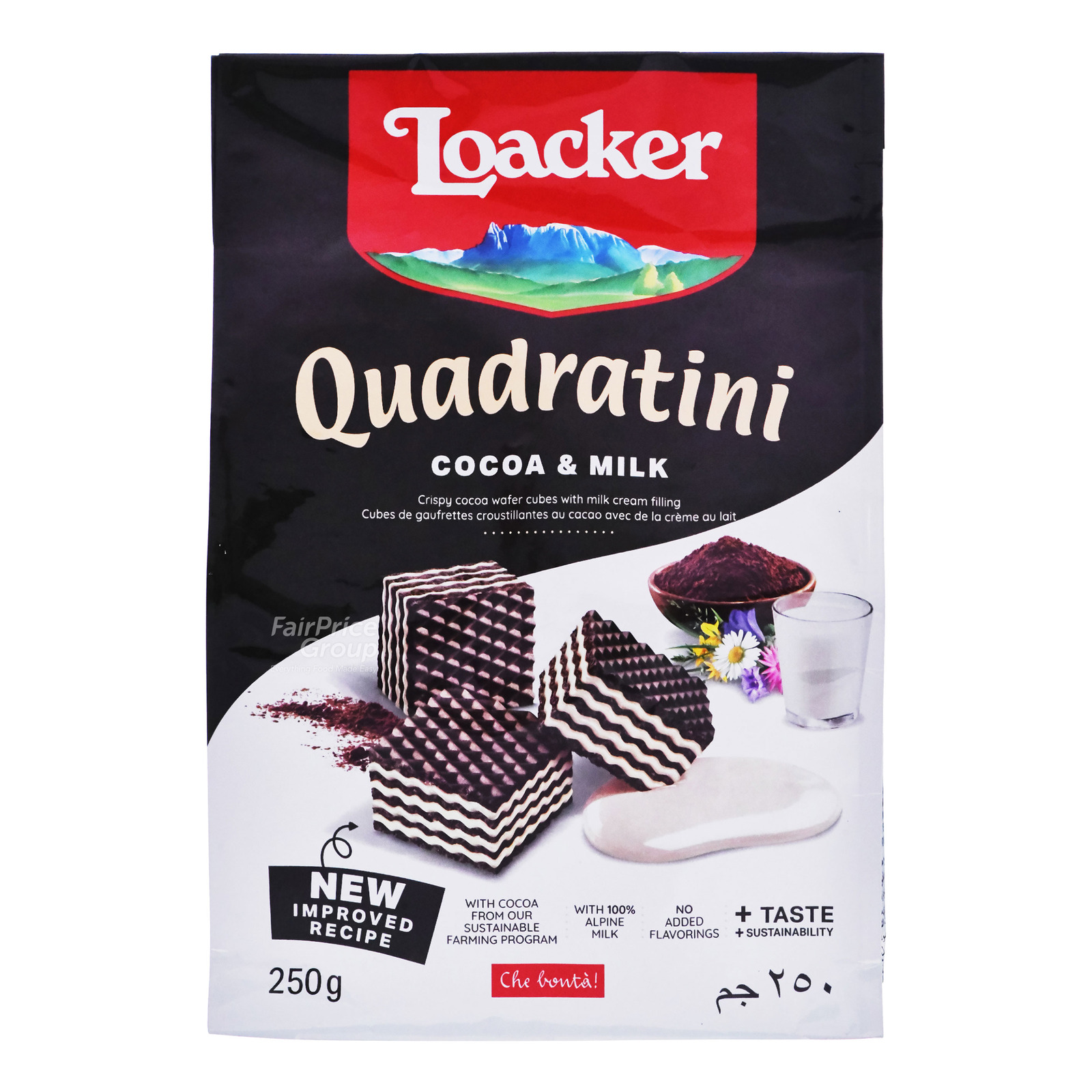 LOACKER Bite Size Wafers Quadratini Cocoa & Milk 250g