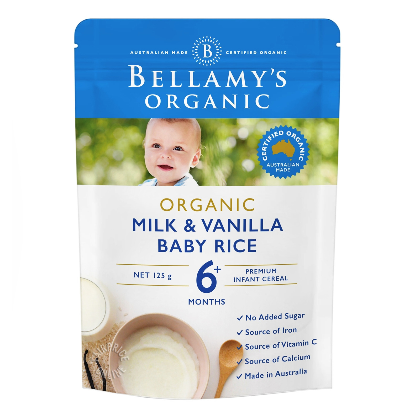 Bellamy's Organic Baby Rice Cereals - Milk & Vanilla