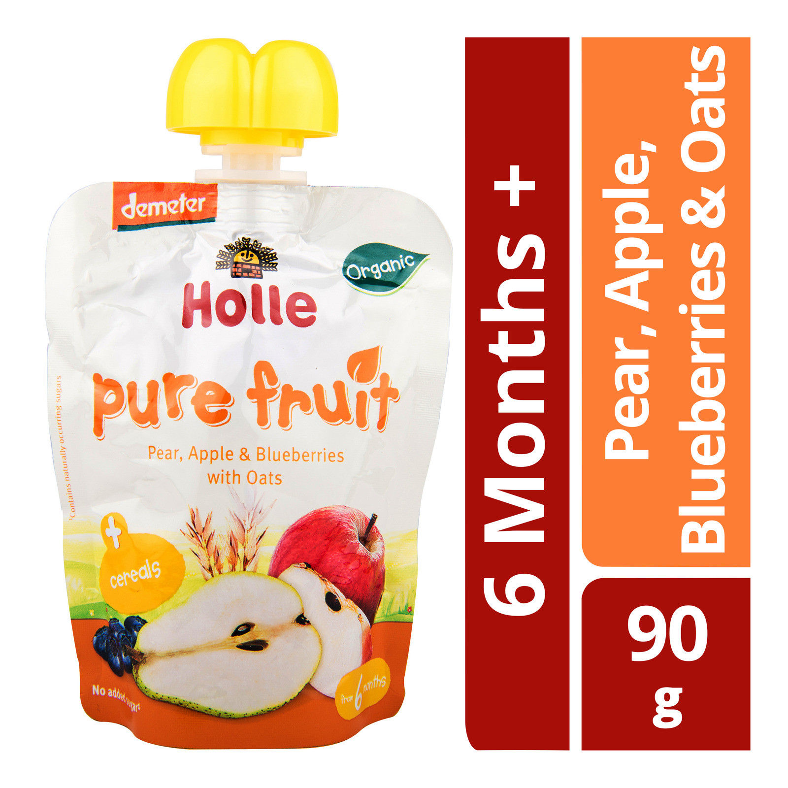 Holle Organic Pouch Pear, Apple & Blueberries With Oats - From 6mths