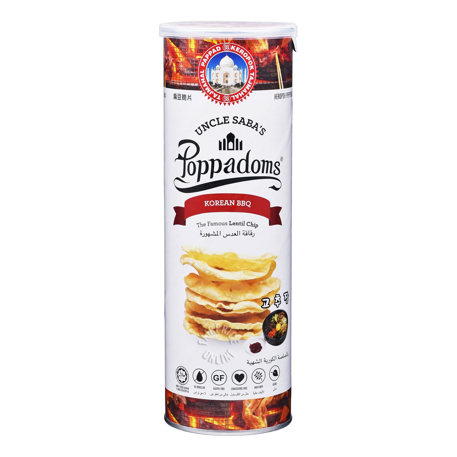 Uncle Saba's Poppadoms Lentil Chip - Barbeque