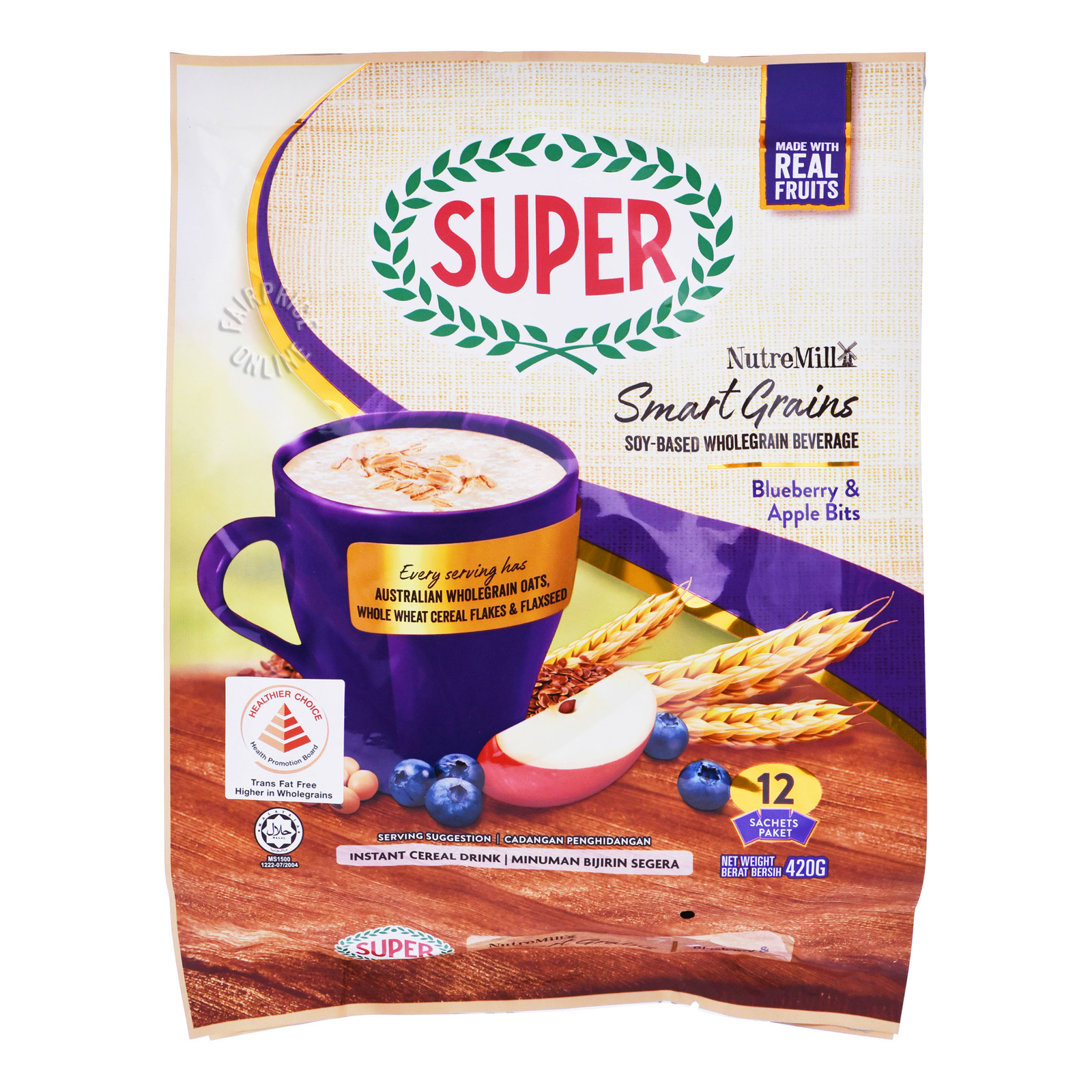 SUPER Instant Soy Drink Whole Grain NutreMill - Blueberry & Apple Bits 12sX35g