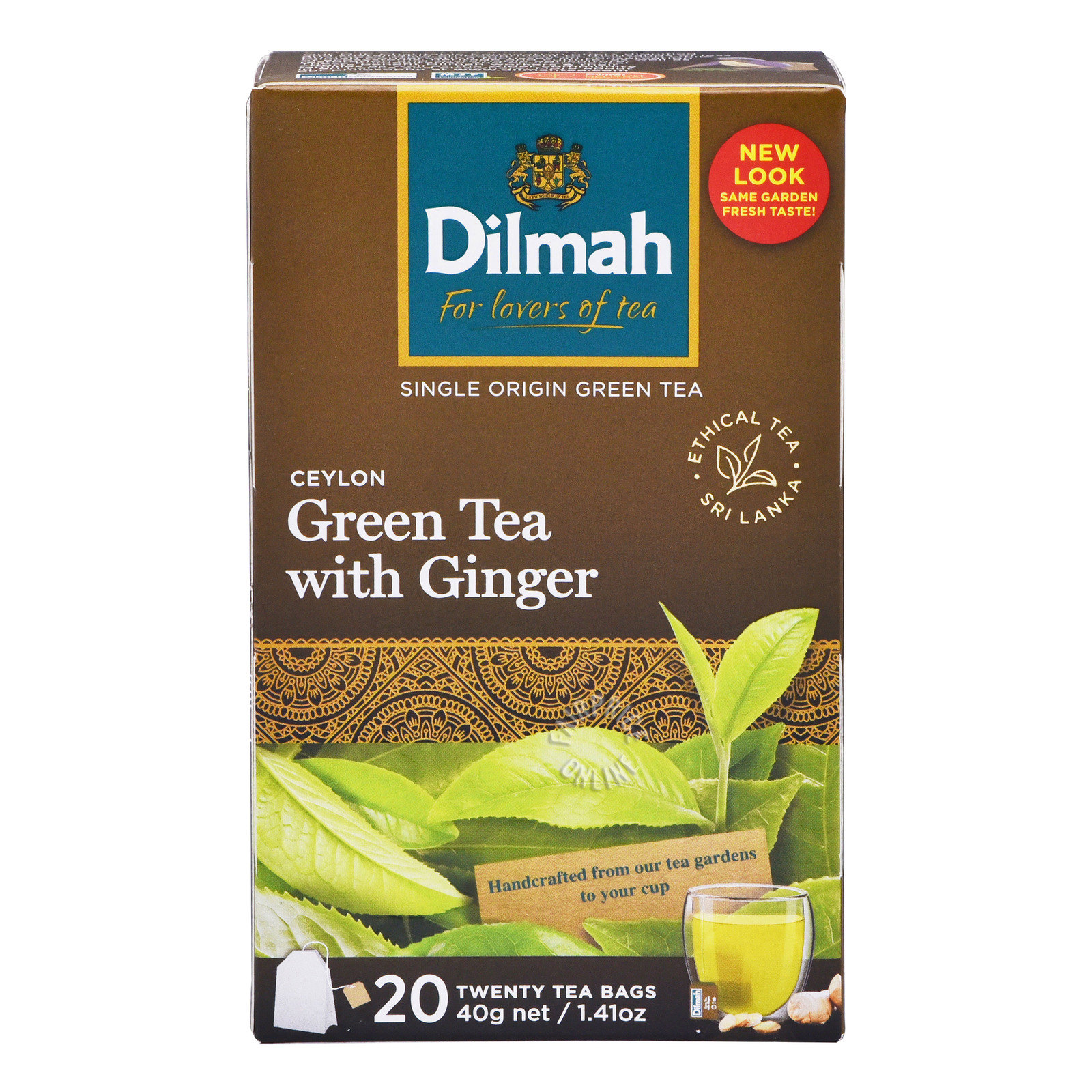 Dilmah Pure Ceylon Tea Bags - Green Tea with Ginger