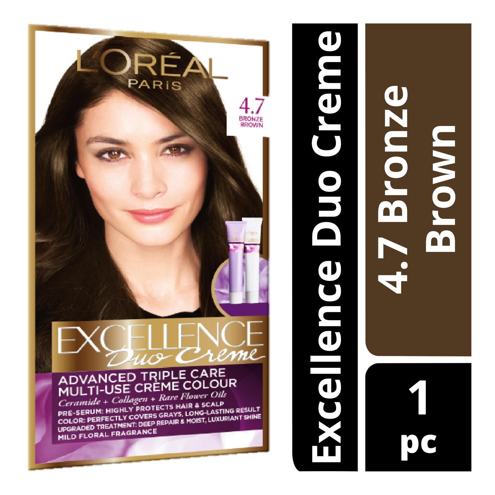 L'Oreal Paris Excellence Duo Creme Hair Dye - 4.7 Bronze Brown