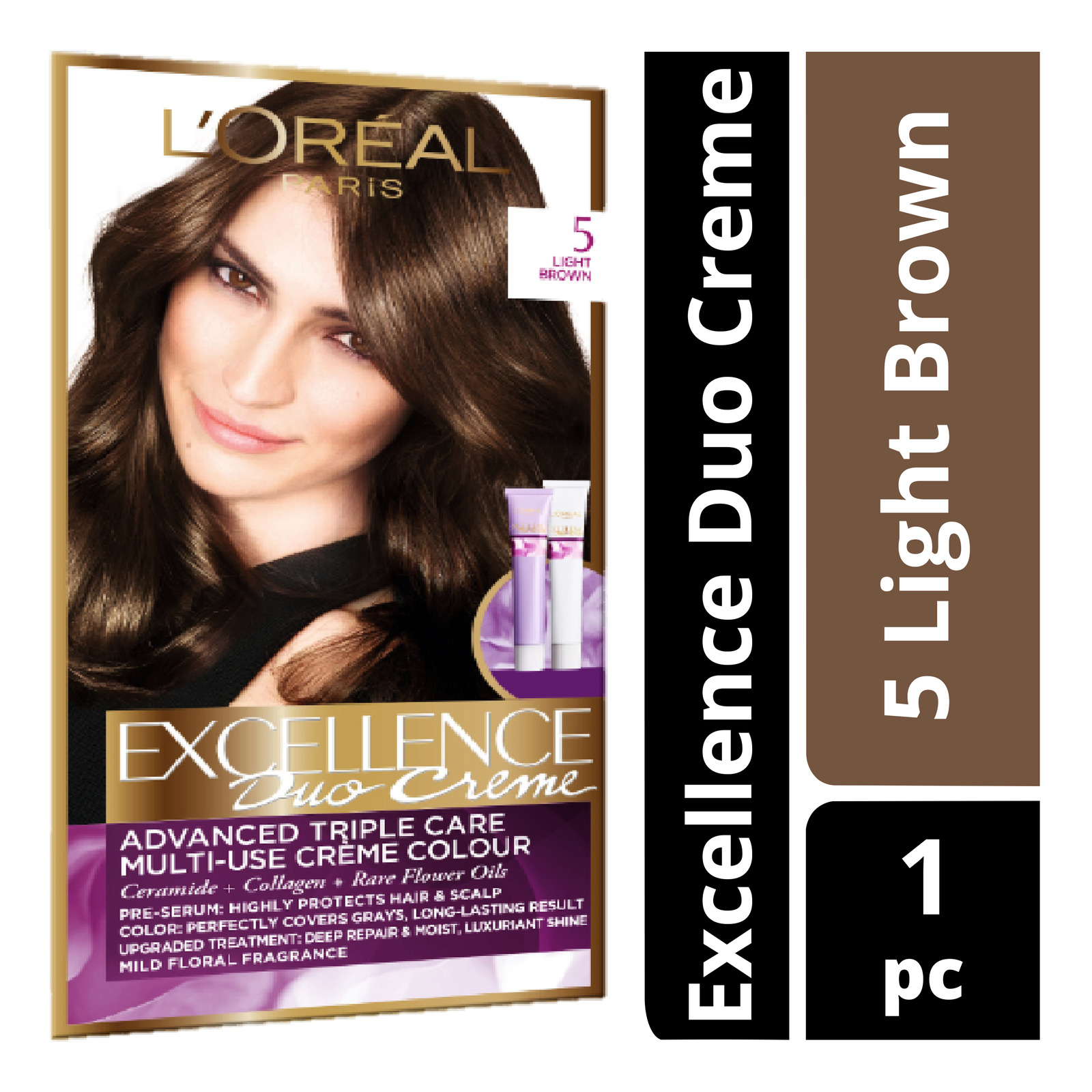L'Oreal Paris Excellence Duo Creme Hair Dye - 5 Light Brown