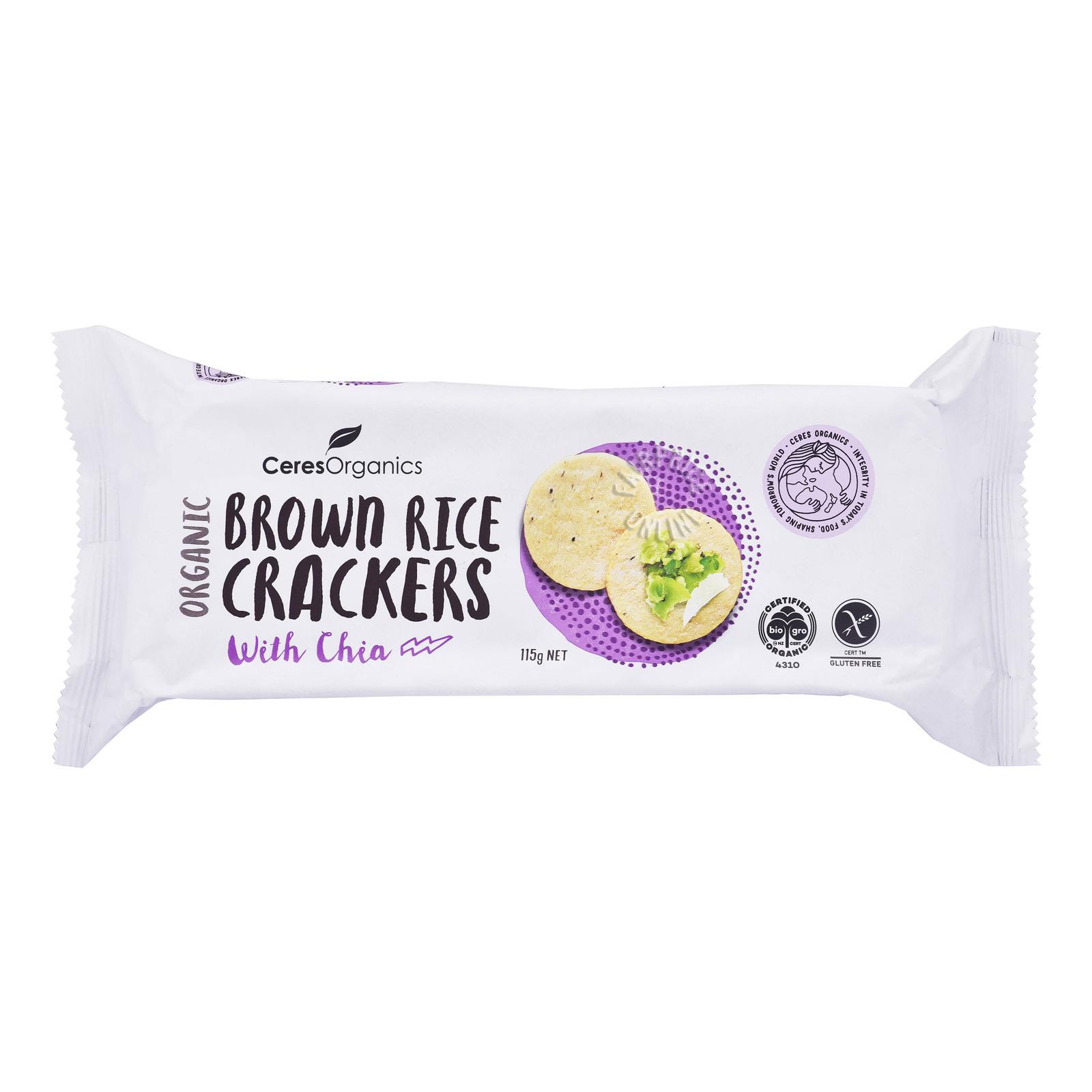 Ceres Organics Brown Rice Crackers - Chia