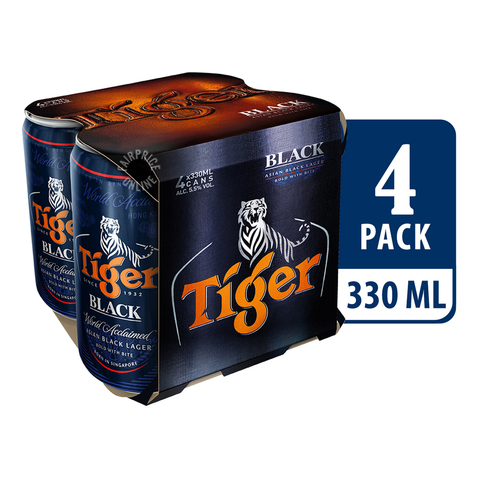TIGER Black Lager Beer 4sX330ml