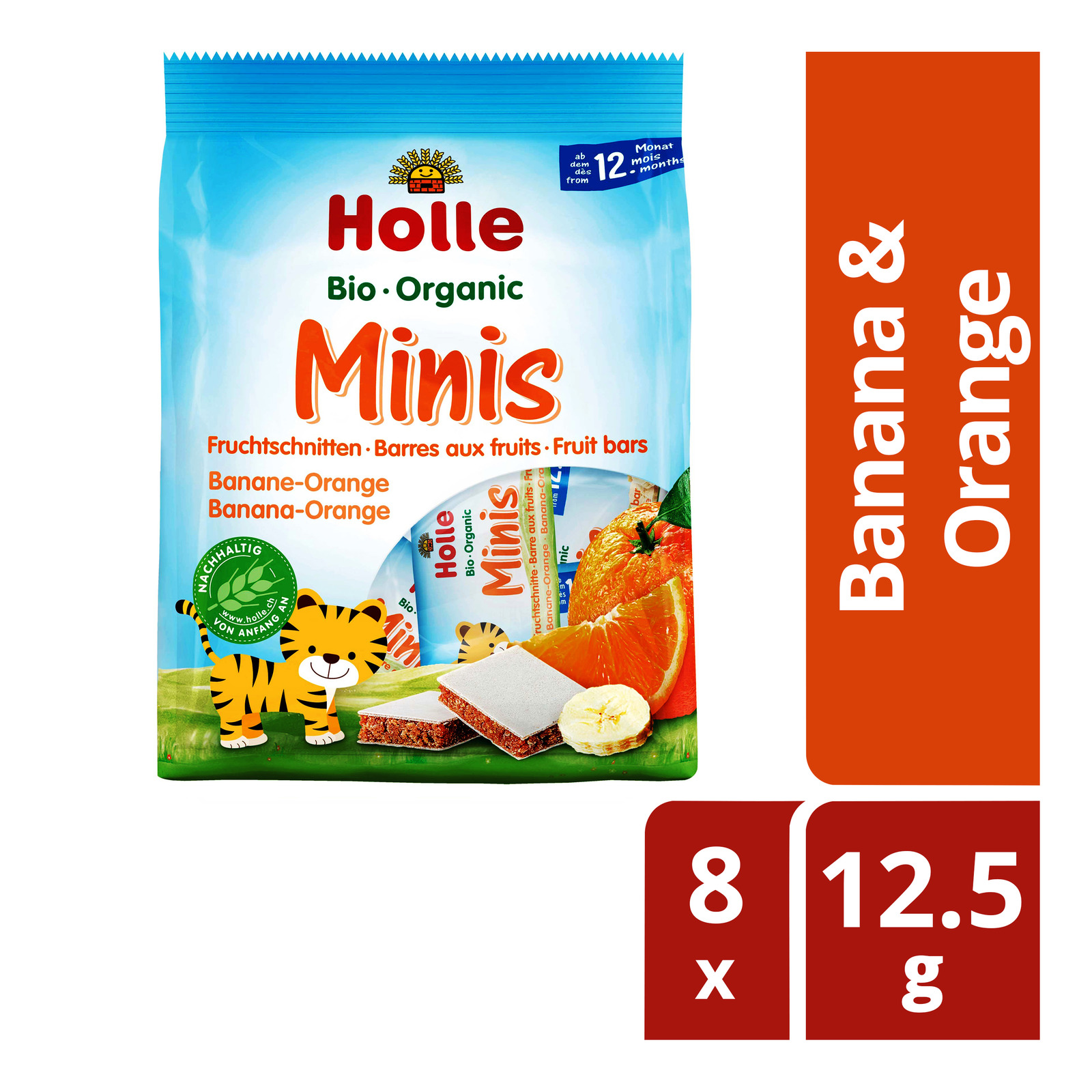 Holle Organic Minis Fruit Bars - Banana & Orange