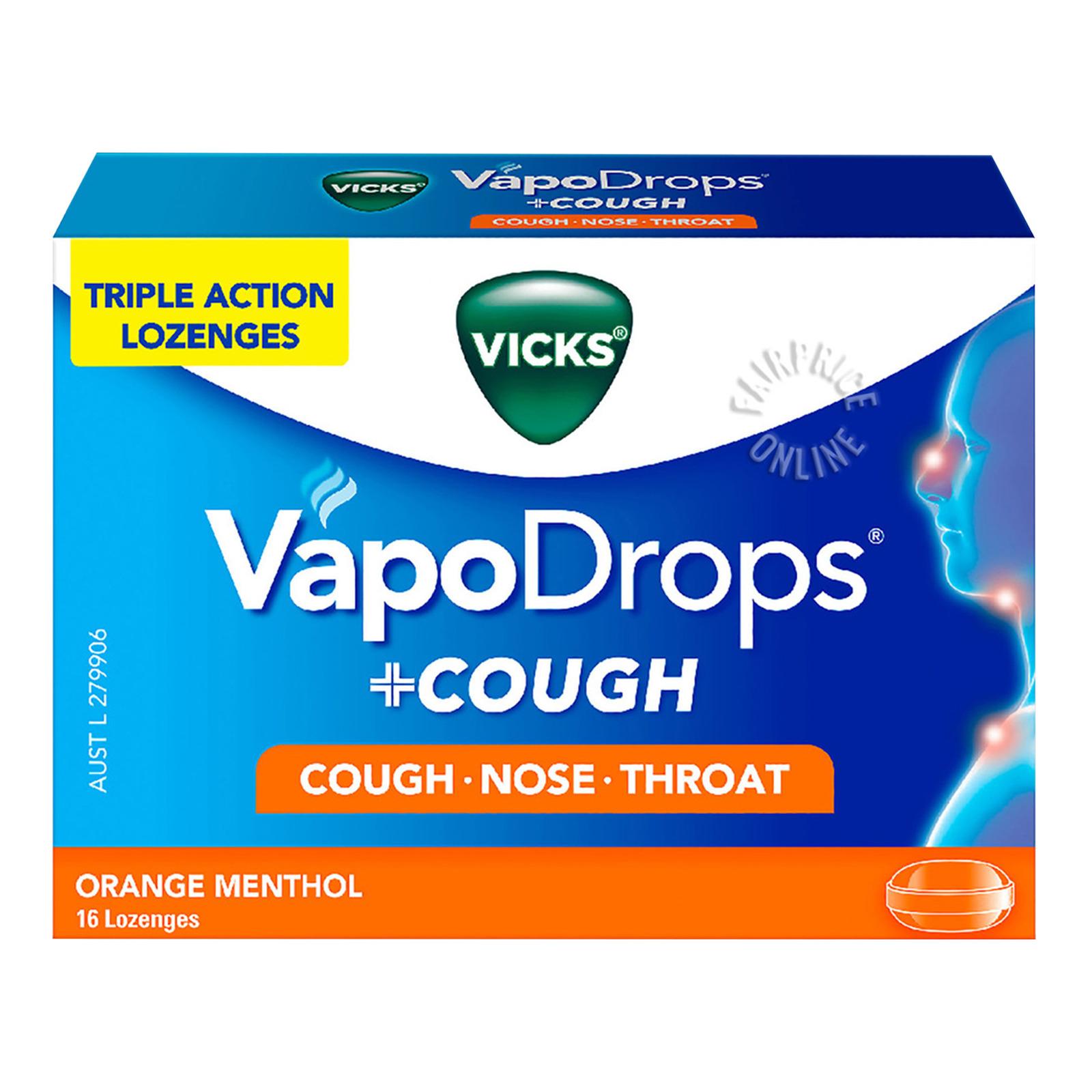 Vicks VapoDrops + Cough Menthol Lozenges - Orange