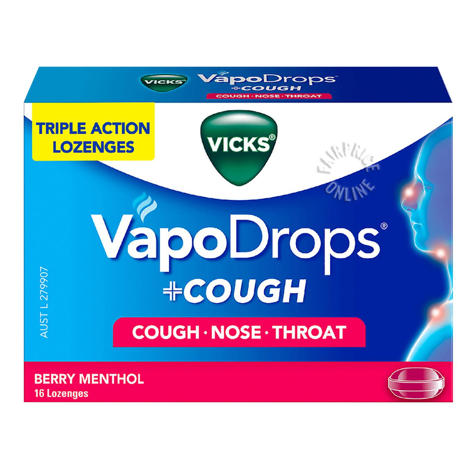 Vicks VapoDrops + Cough Menthol Lozenges - Berry