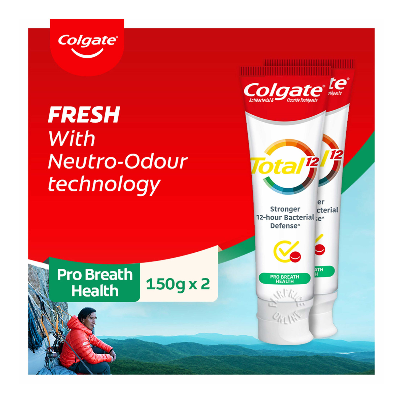 COLGATE colgate total professional breath health toothpaste 2x150g bundle pack