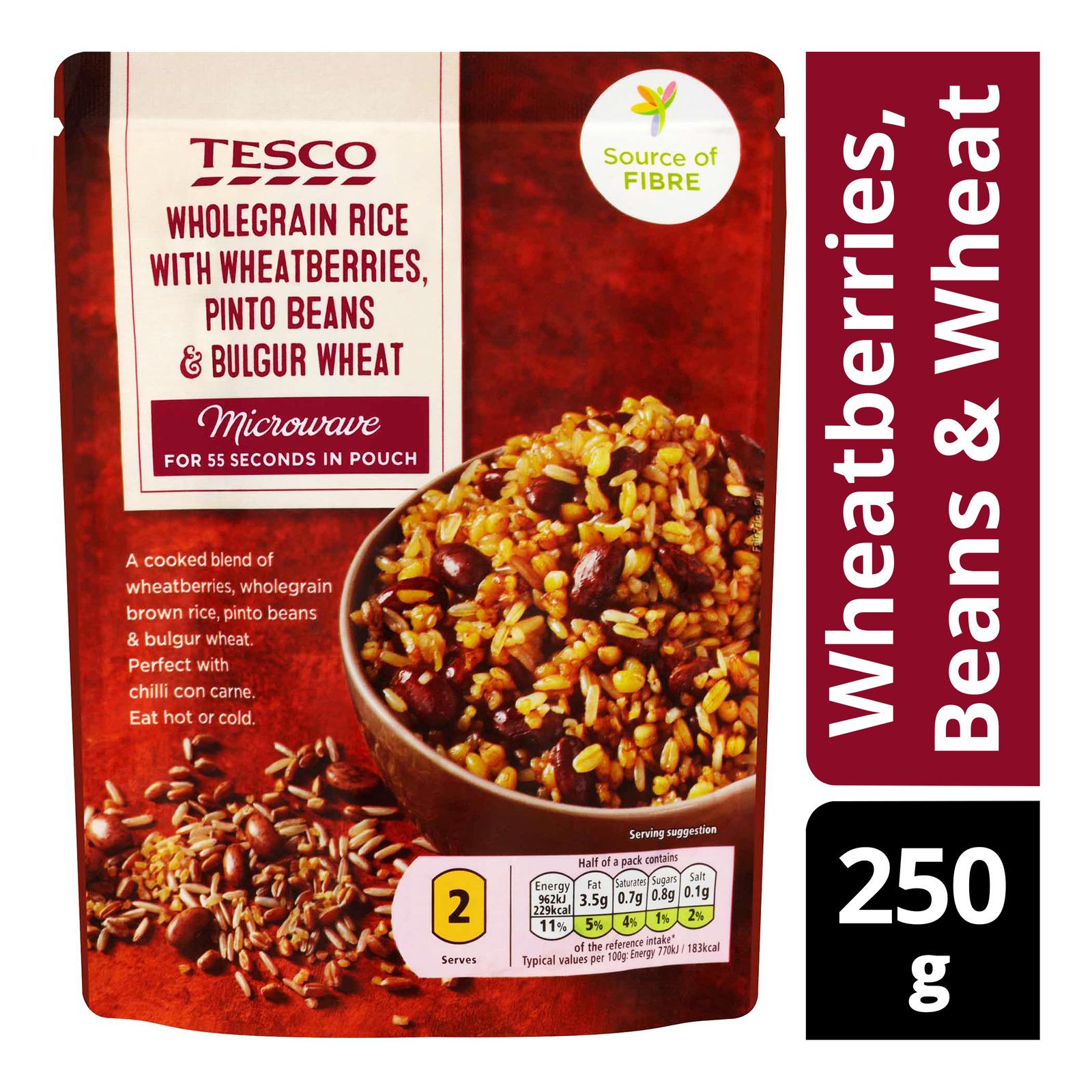 Tesco Instant Wholegrain Rice Pouch - Wheatberries, Beans & Wheat