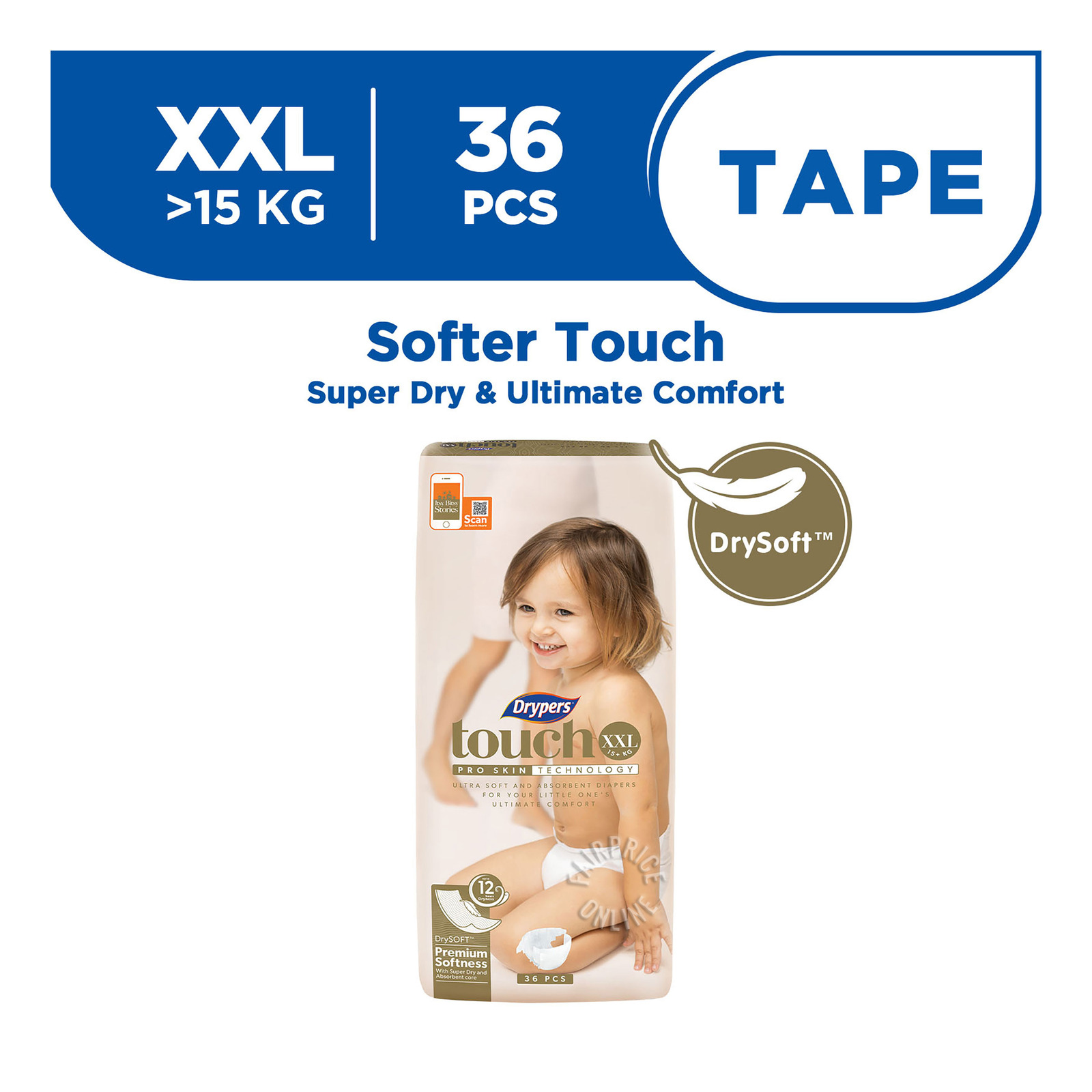 Drypers Touch Diapers - XXL (15+ kg)