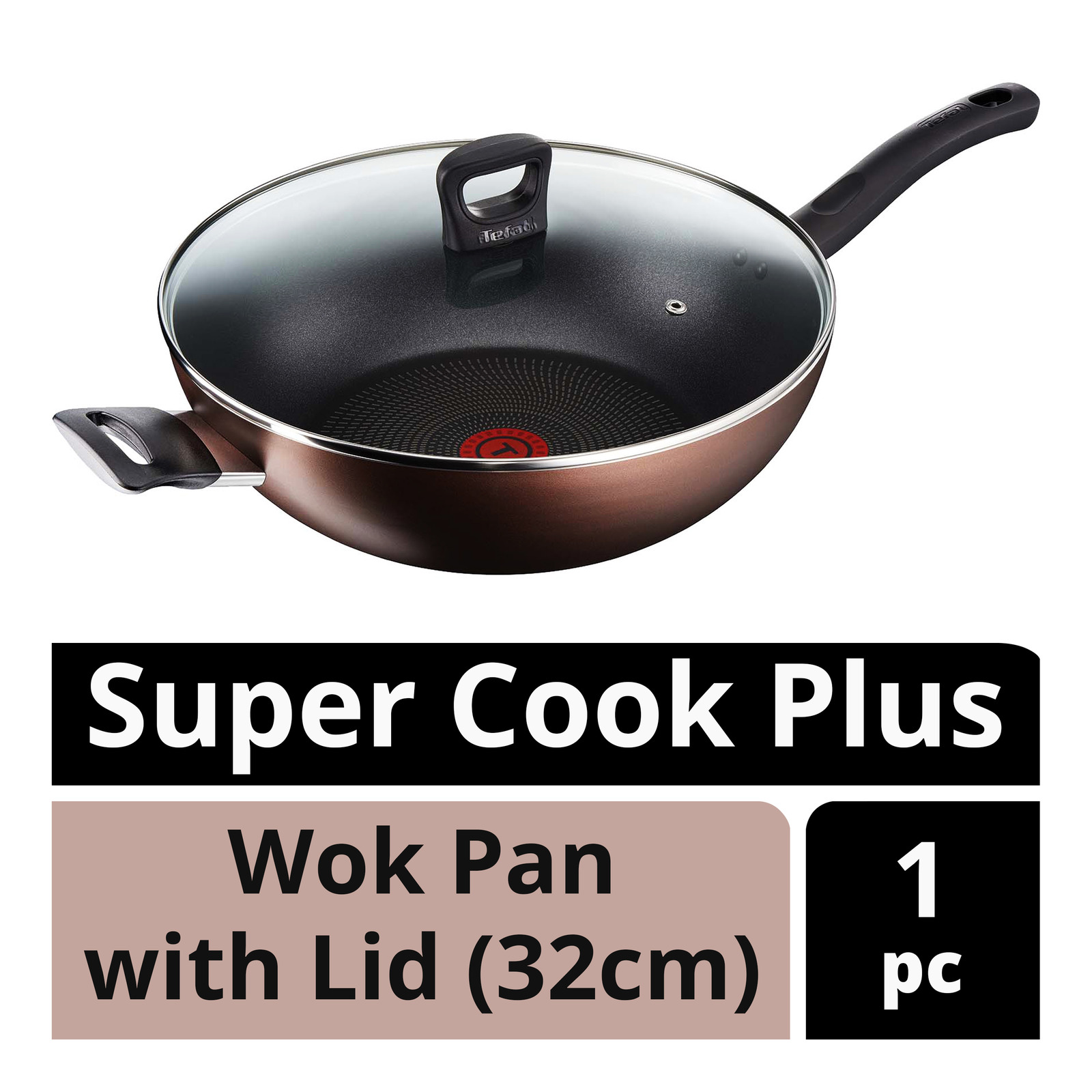 Tefal Super Cook Plus Wok Pan with Lid - 32cm