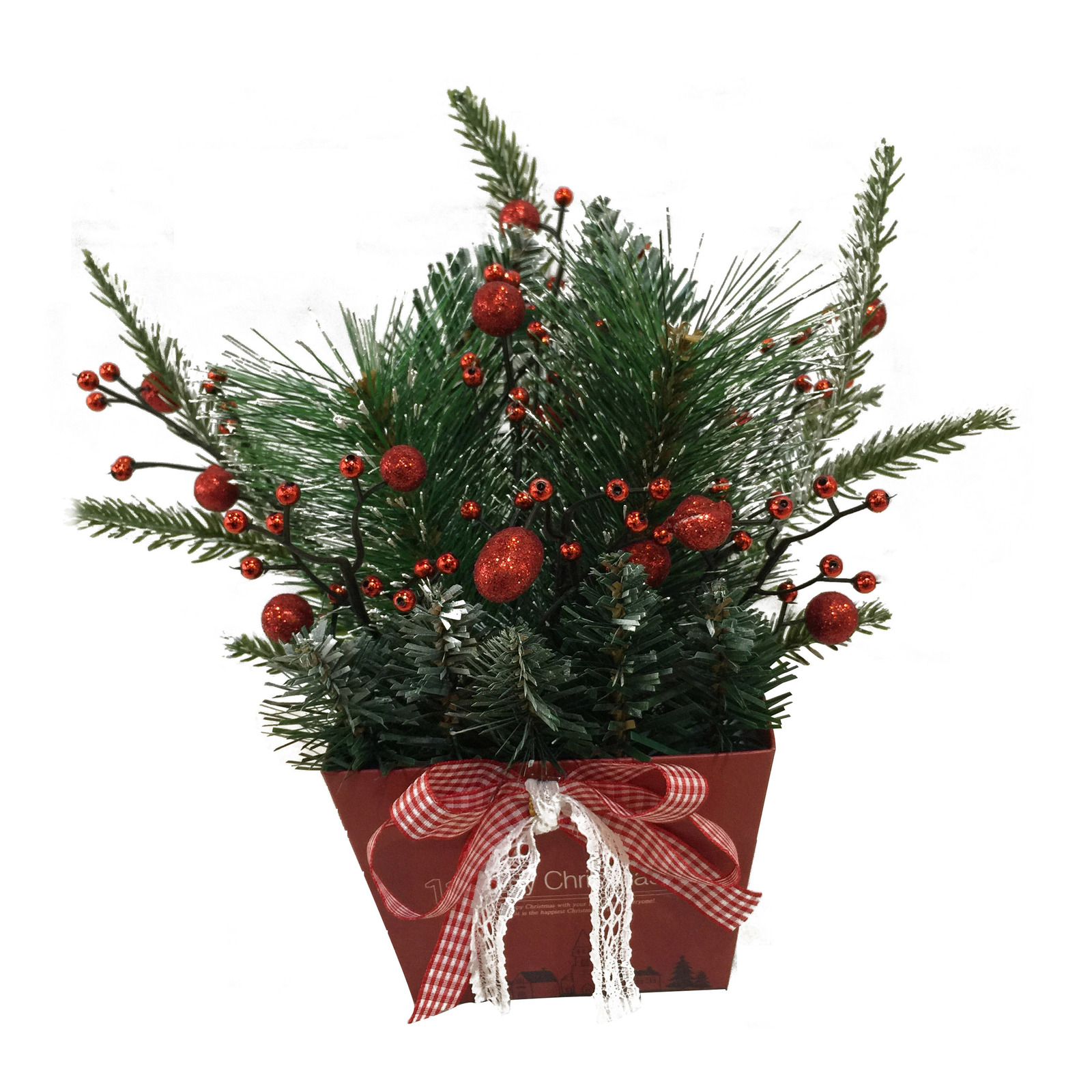 Christmas Table Top Decoration - Artificial Plant (Red)
