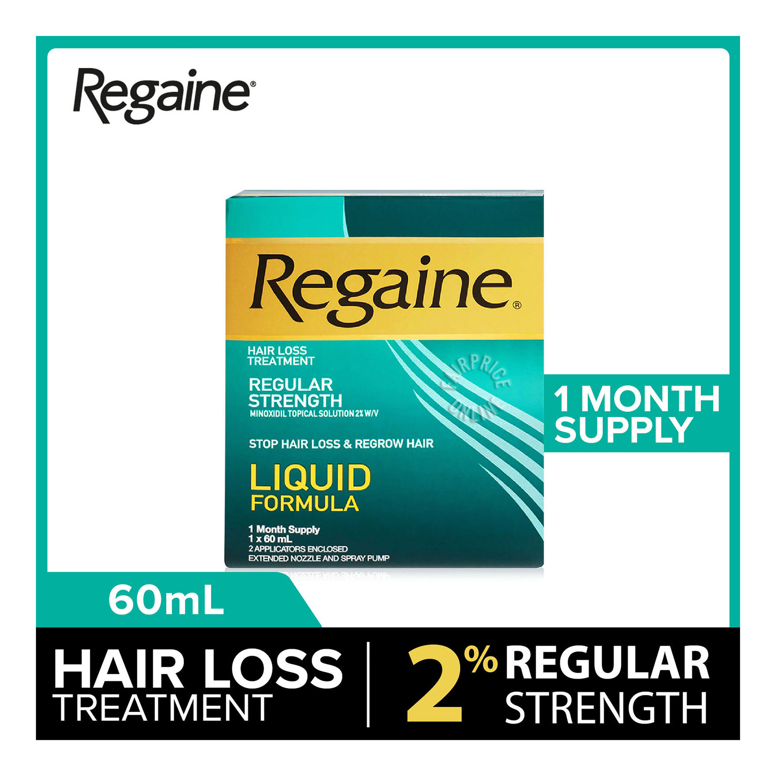 Regaine Regular Strength Hair Loss Treatment 2% Minoxidil Solution, 60ml