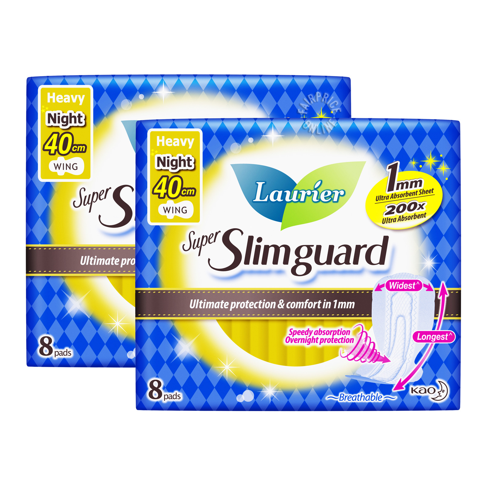 Laurier Super Slimguard Night Pad - Heavy Wing (40cm)