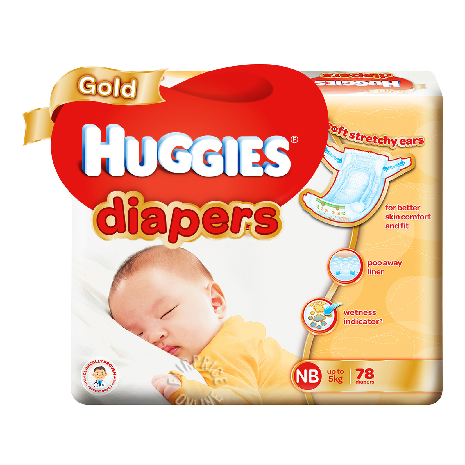 HUGGIES Gold Tapes Diapers New Born 78s Up to 5kg