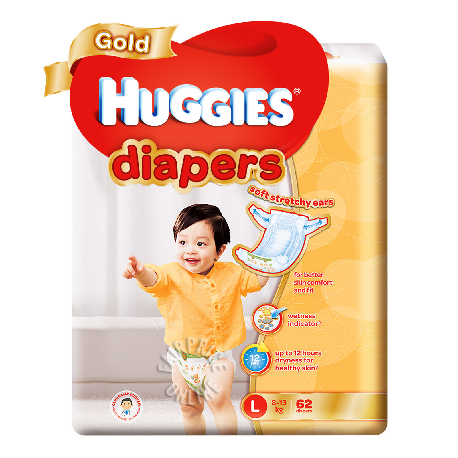 HUGGIES Gold Tapes Diapers L 62s 8-13kg