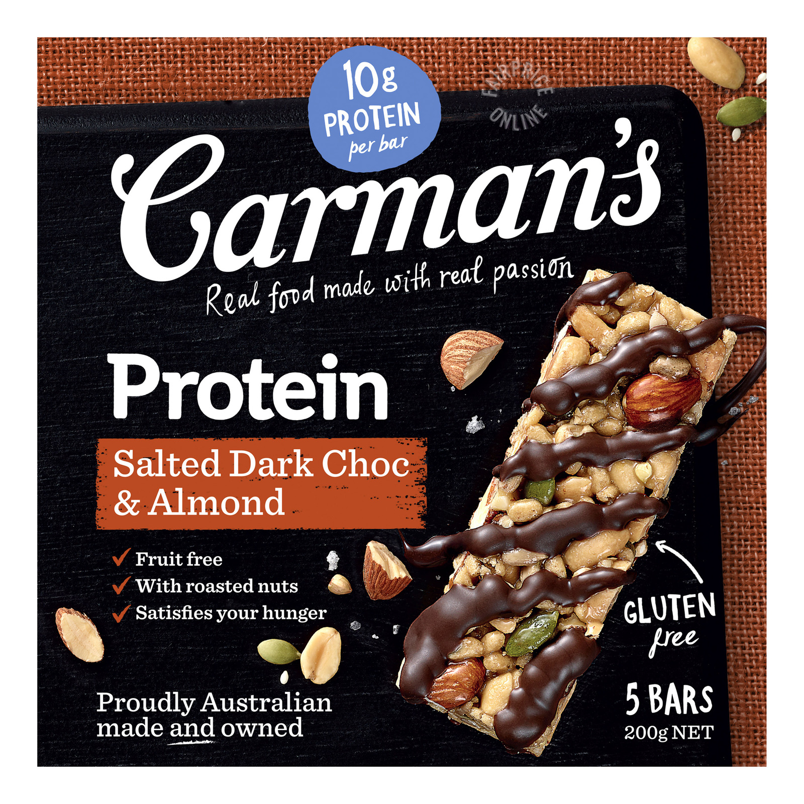 Carman's Gourmet Protein Bars - Salted Dark Choc & Almond