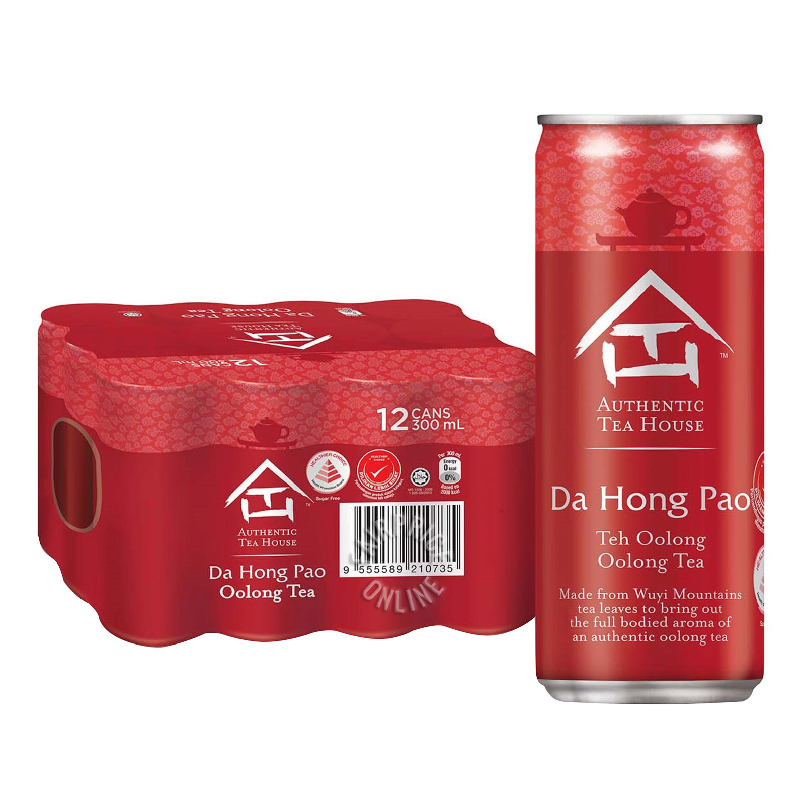 Authentic Tea House Da Hong Pao No Sugar Oolong Tea (12 x 300ml) - Case