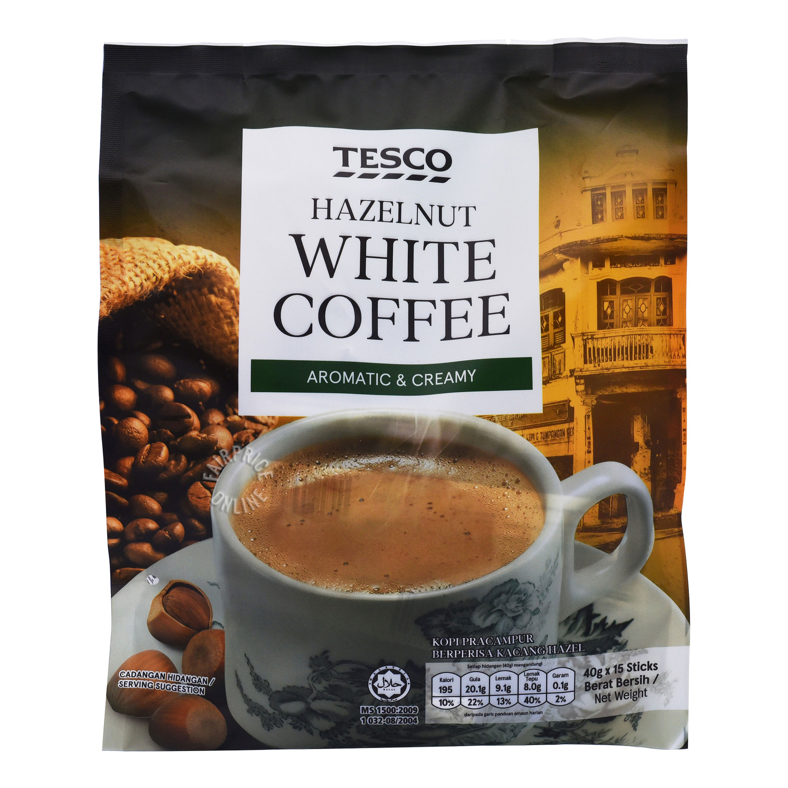 Tesco 3 in 1 Instant White Coffee - Hazelnut