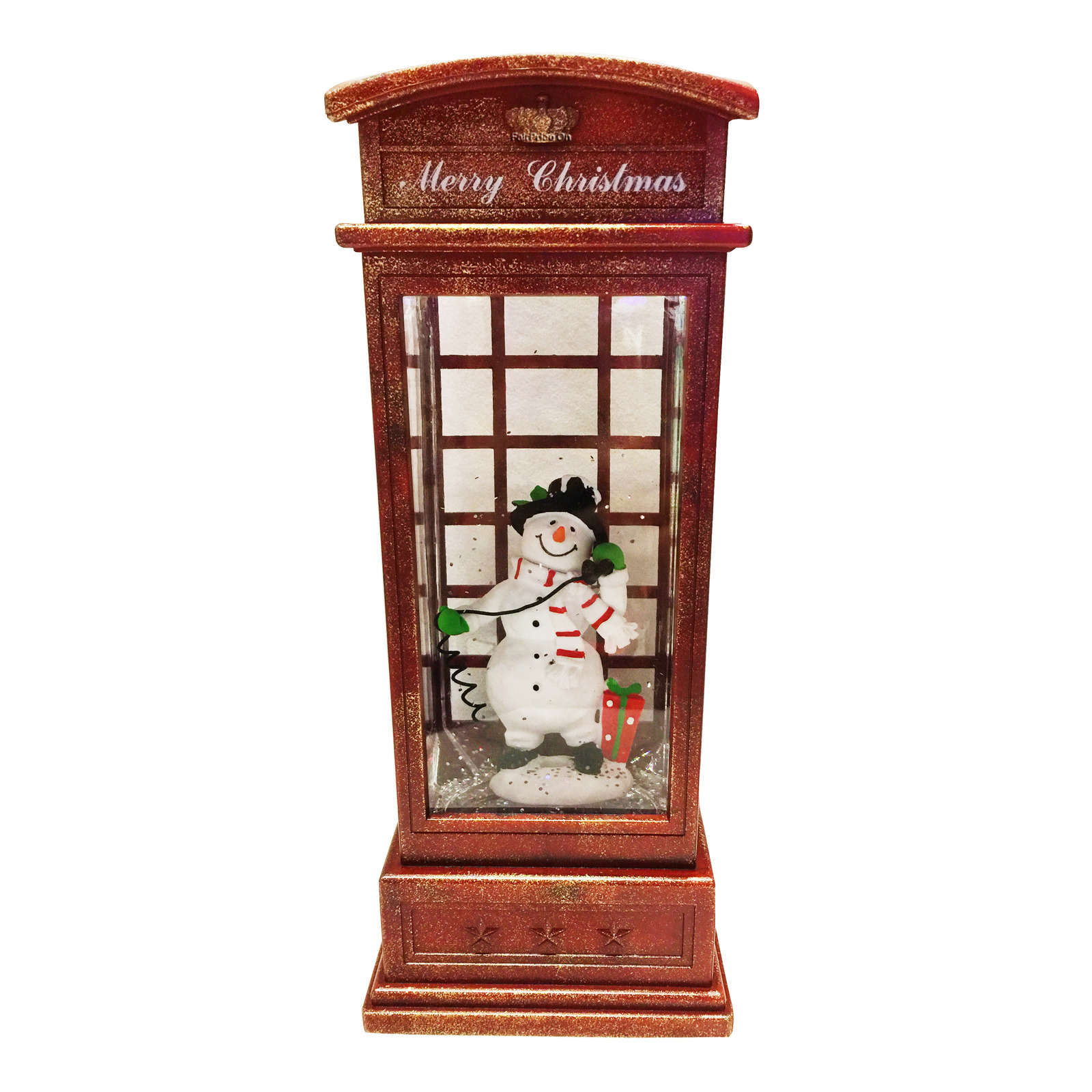 Imported Phone Booth Snowman