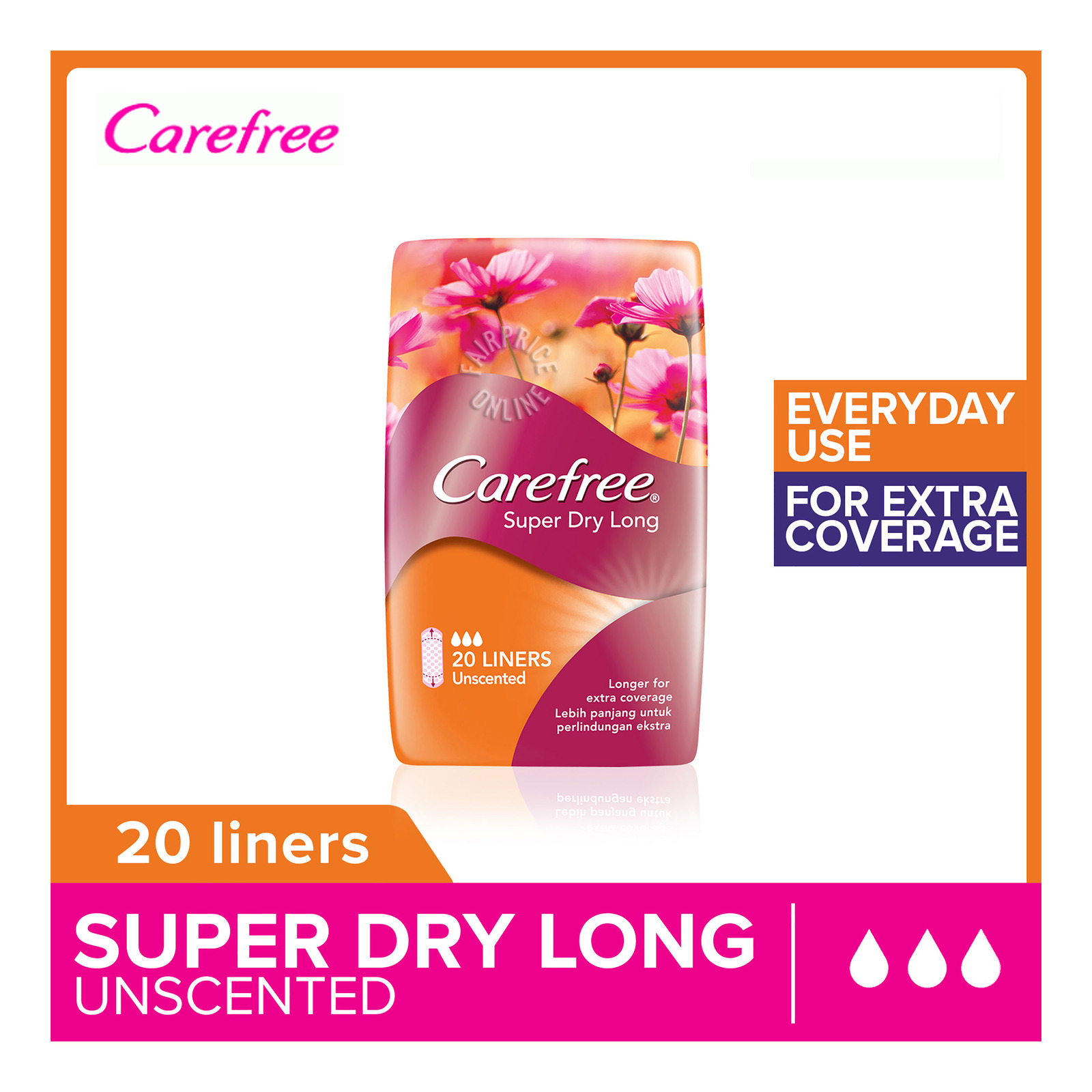 Carefree Super Dry Long Panty Liners - Unscented