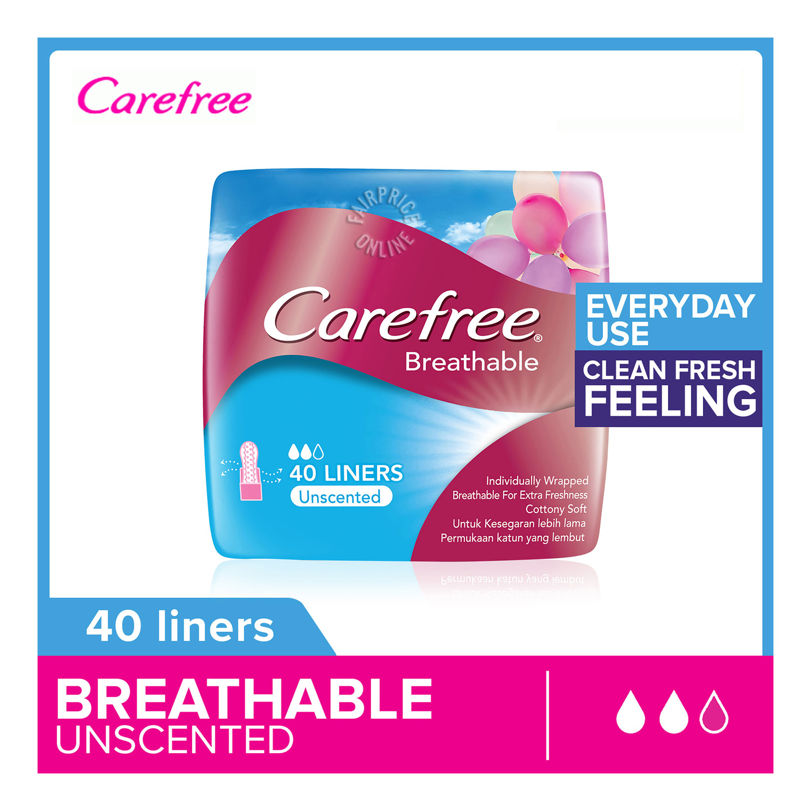 Carefree Breathable Panty Liners - Unscented