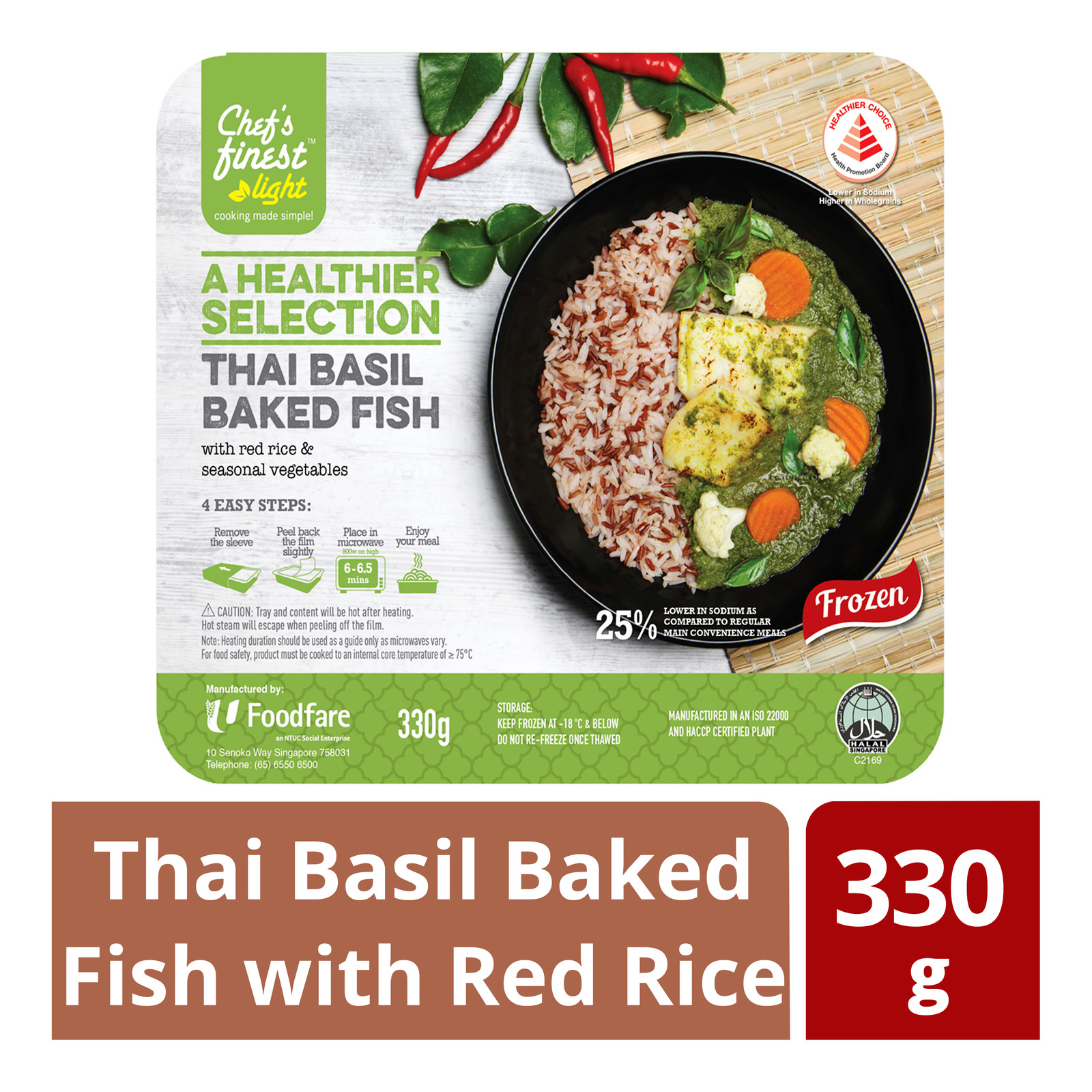 Chef's Finest Ready Meal - Thai Basil Baked Fish with Red Rice