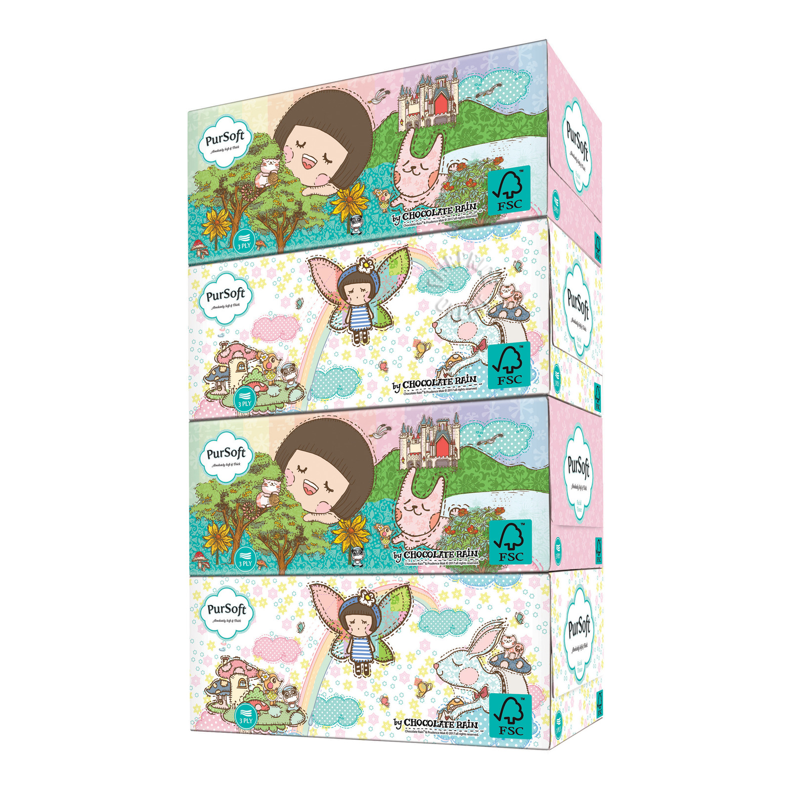 PurSoft Facial Tissue Box - Fantasy (3ply)