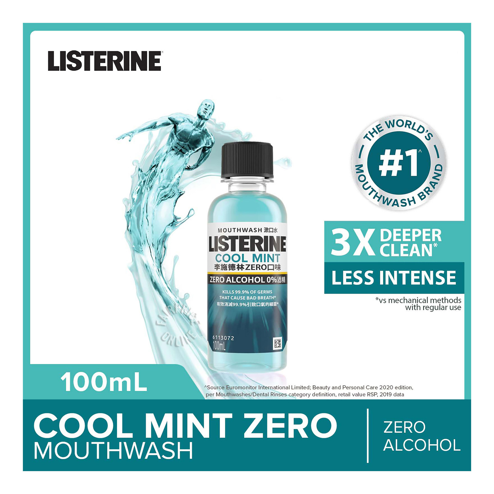 Listerine Travel Pack Mouthwash - Cool Mint Zero
