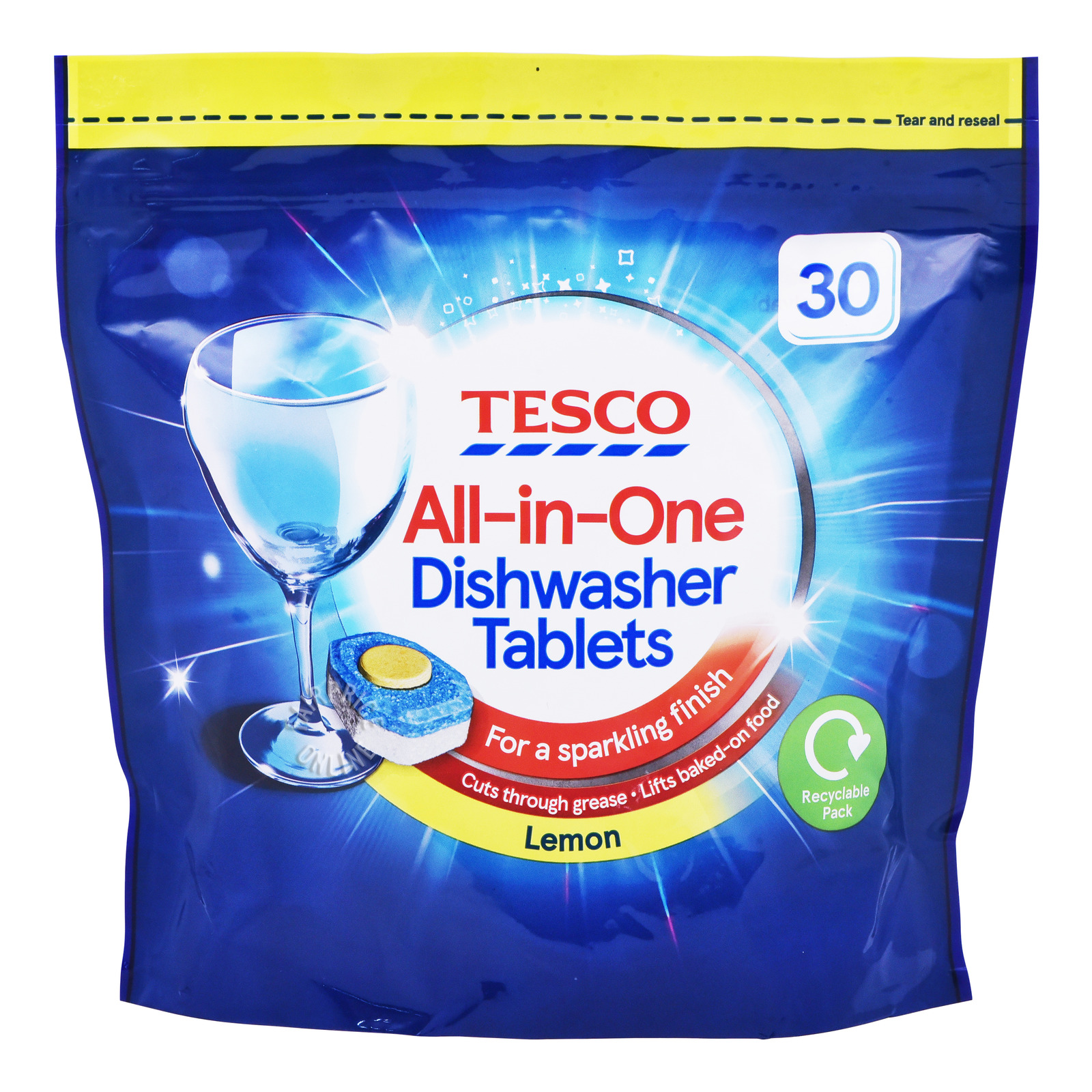 Tesco All-in-One Dishwasher Tablets - Lemon