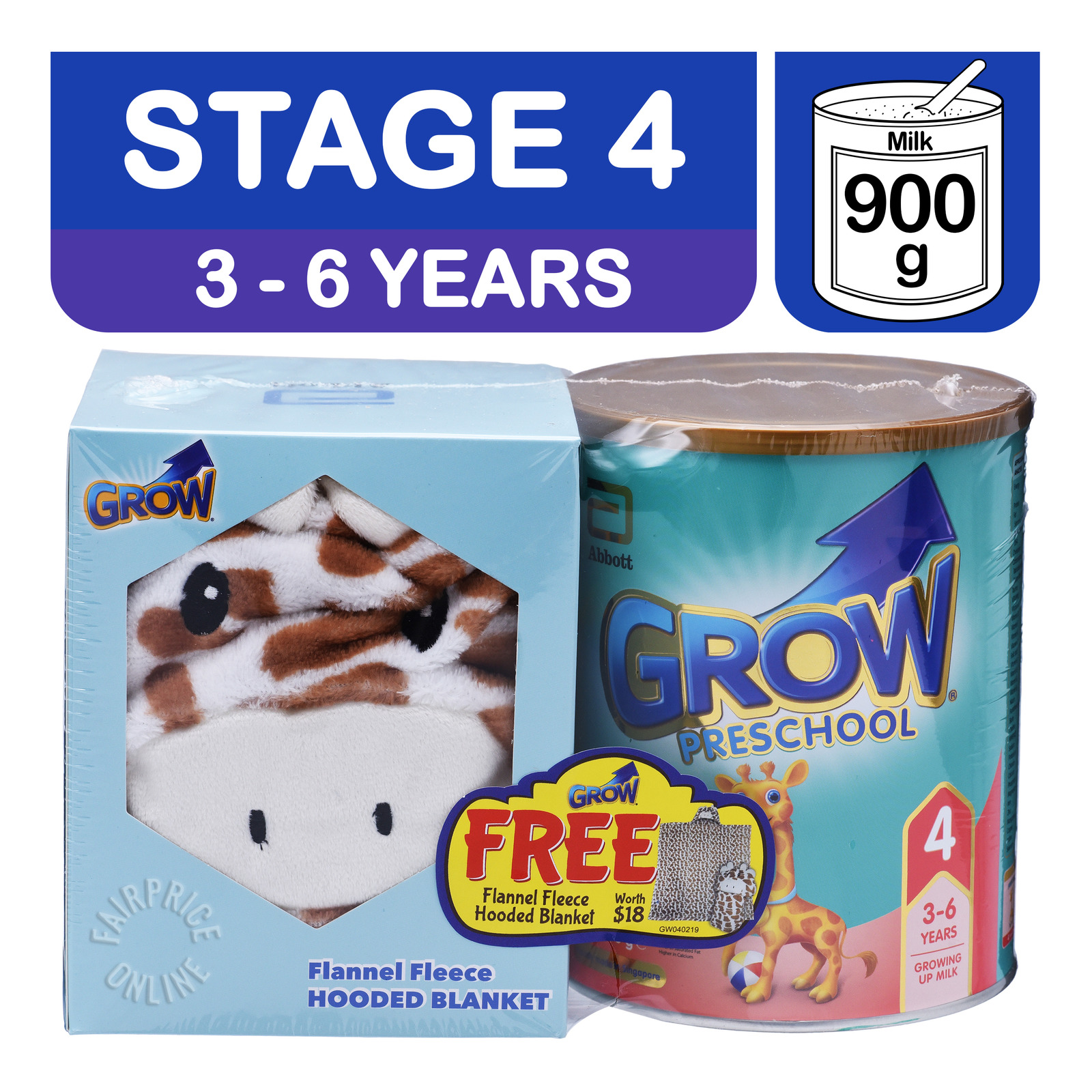 Abbott Grow Preschool Milk Formula - 3 Years + Hooded Blanket