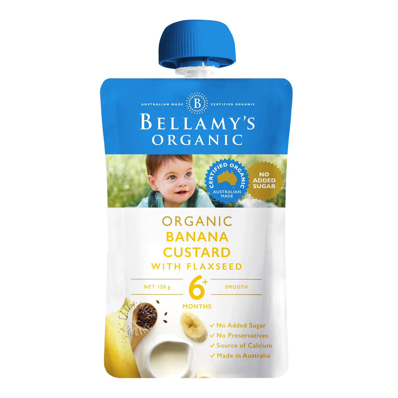Bellamy's Organic Baby Food - Banana Custard with Flaxseed