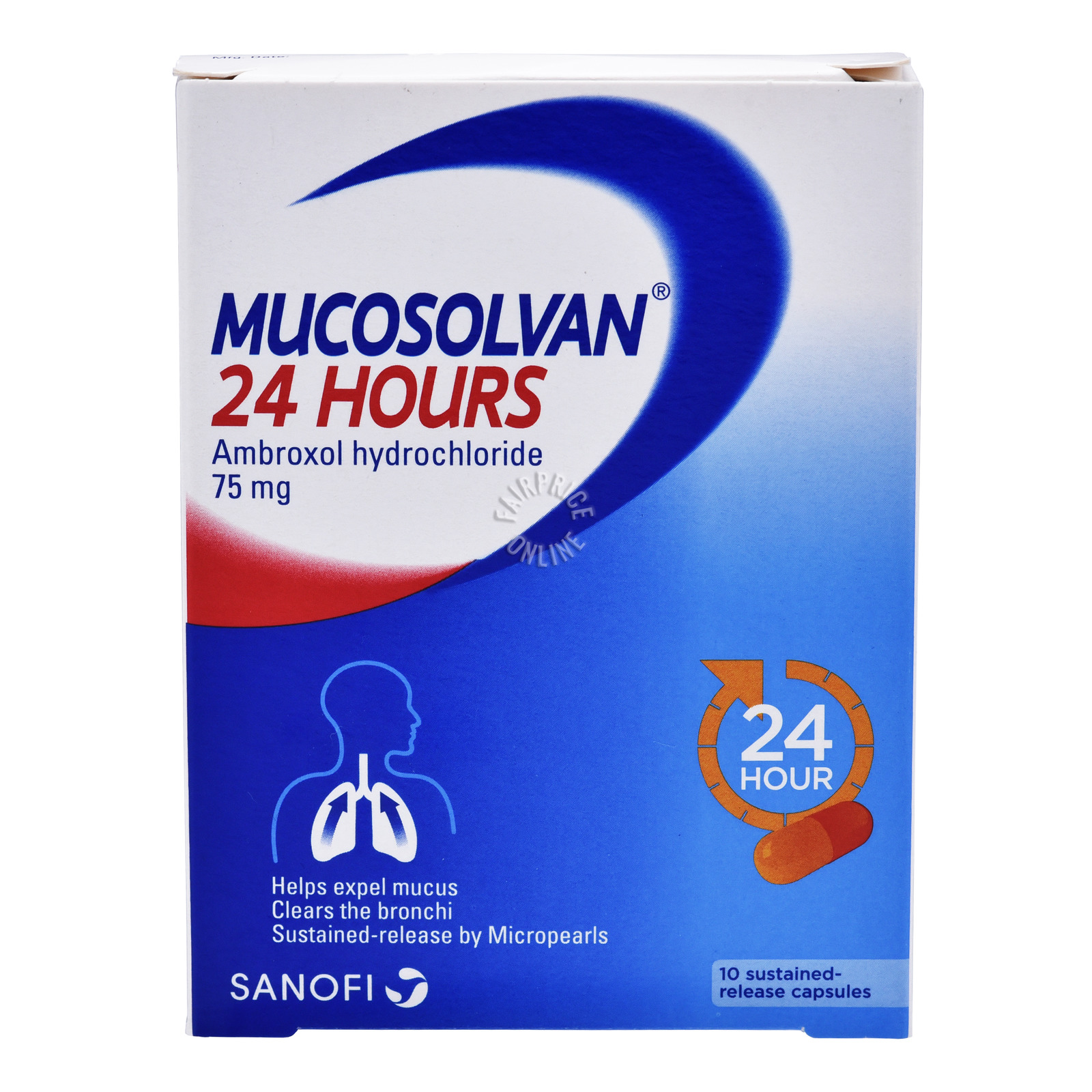 MUCOSOLVAN 24 hours ambroxol hydrochloride 75mg 10 capsules