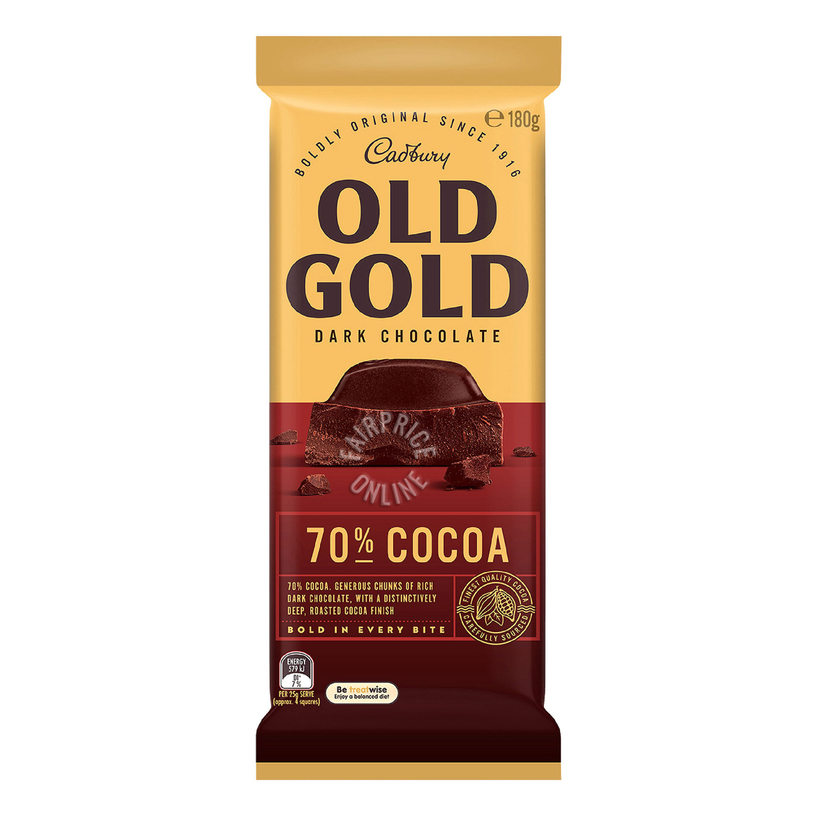 CADBURY Old Gold Dark Chocolate - 70% Cocoa 180g