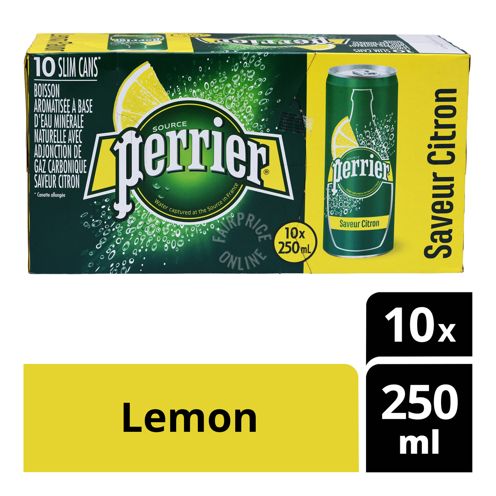 PERRIER Sparkling Natural Mineral Water Lemon 6sX500ml